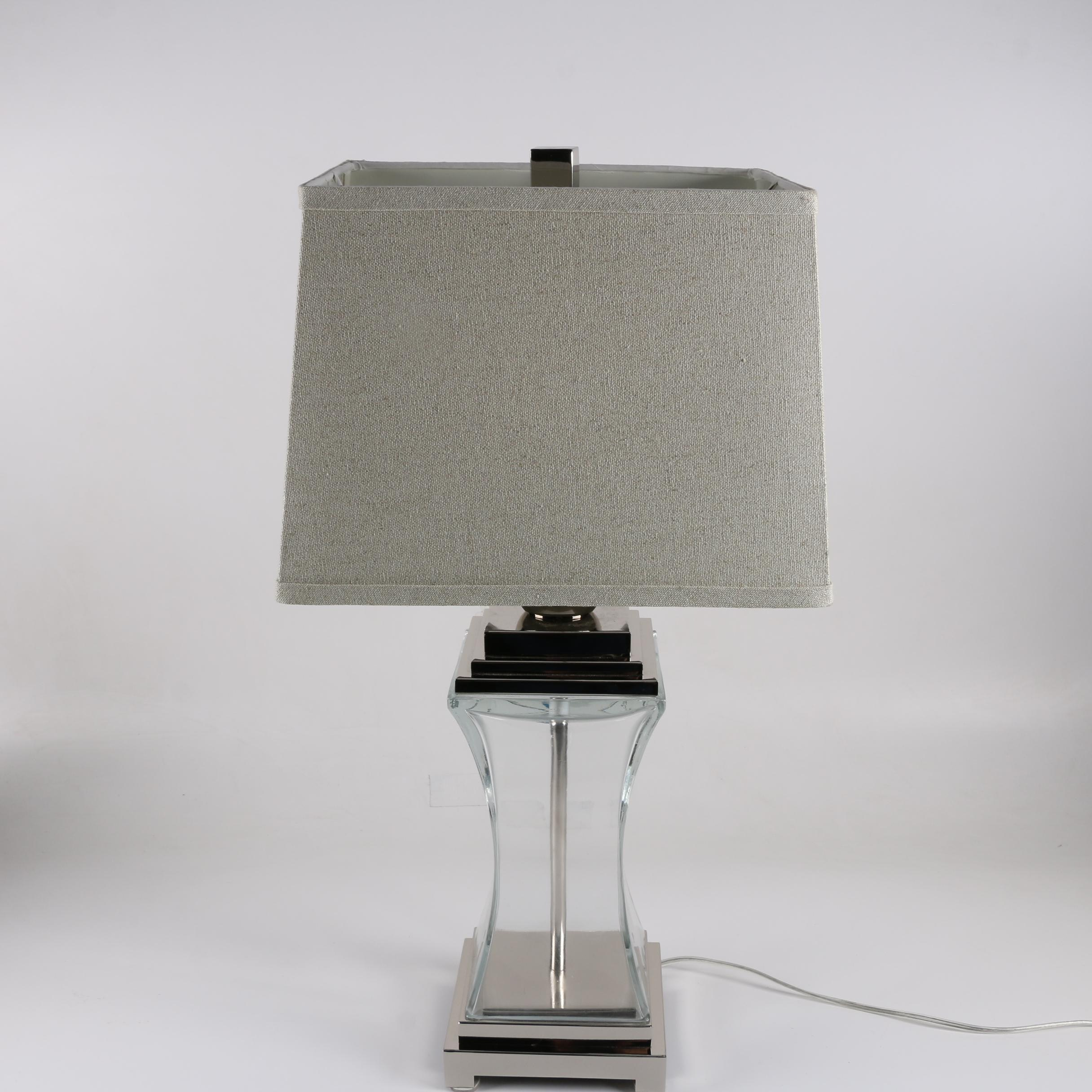 Glass and Silver Tone Table Lamp