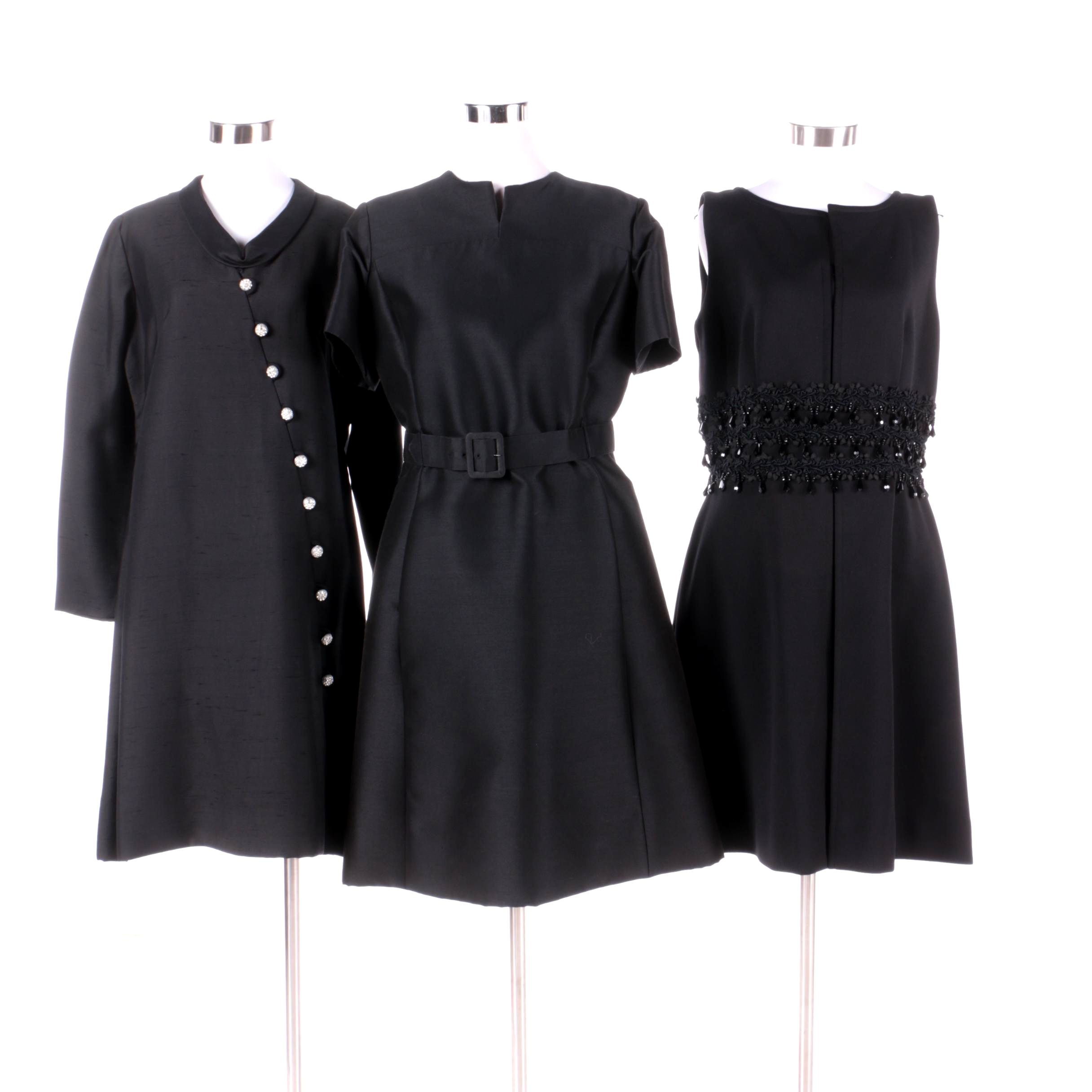 1960s Vintage Silk Beaded and Rhinstone Black Cocktail Dresses with Leslie Fay