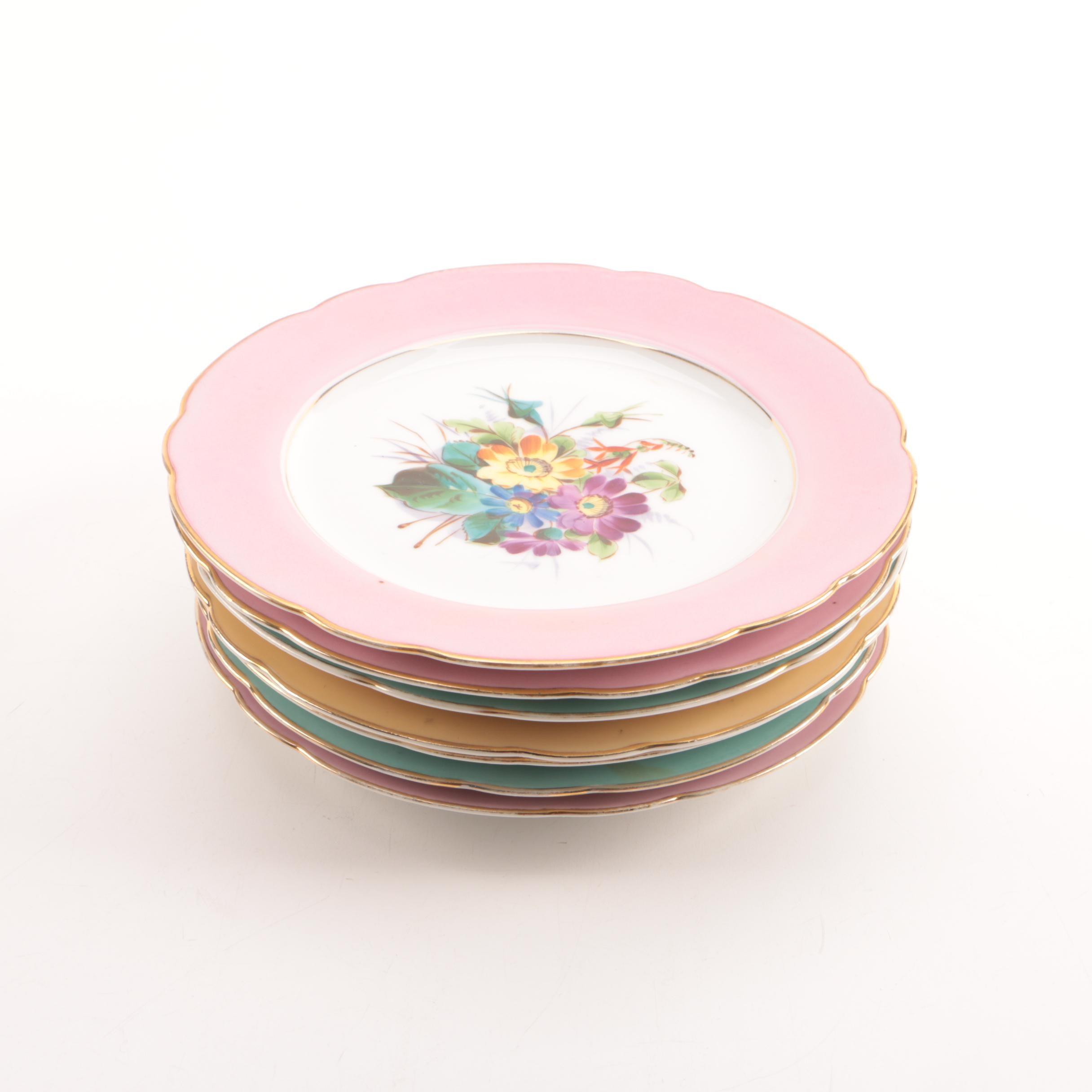 Vintage Floral Themed Porcelain Salad Plates