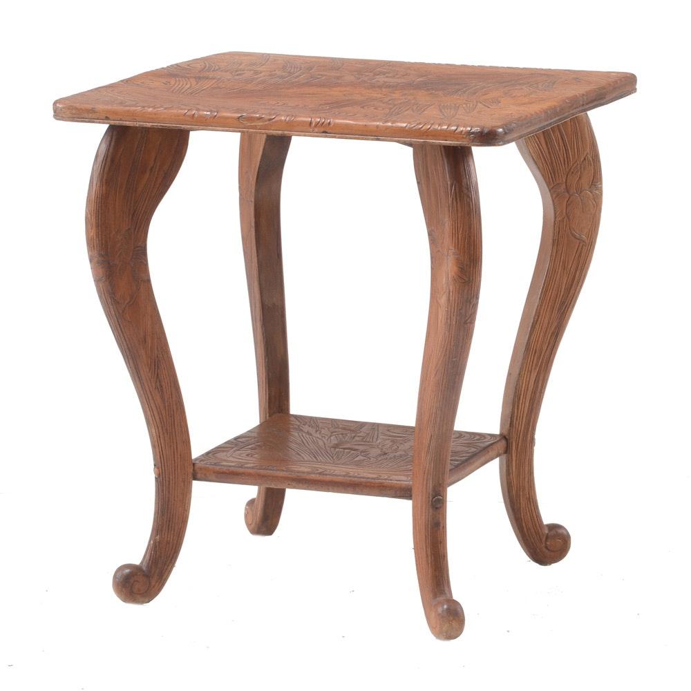Art Nouveau Carved Accent Table