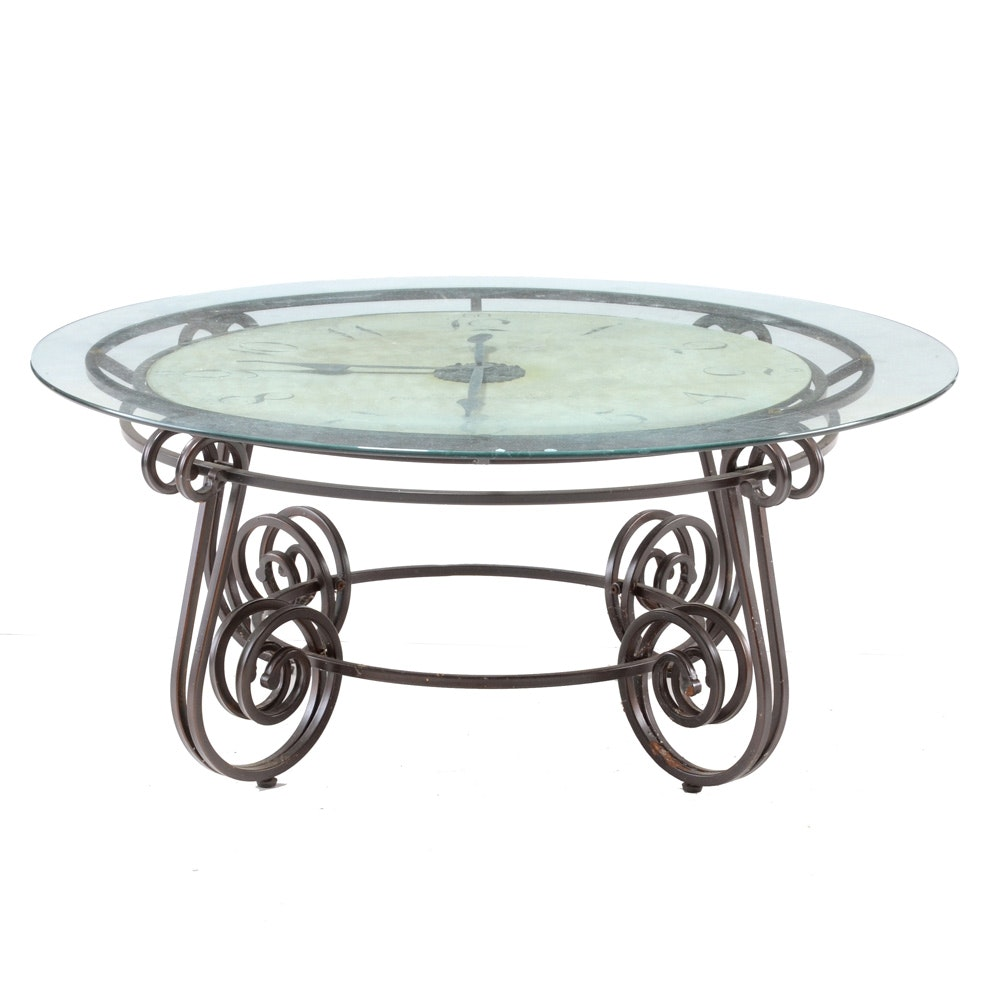 Contemporary Clock Glass Top Coffee Table