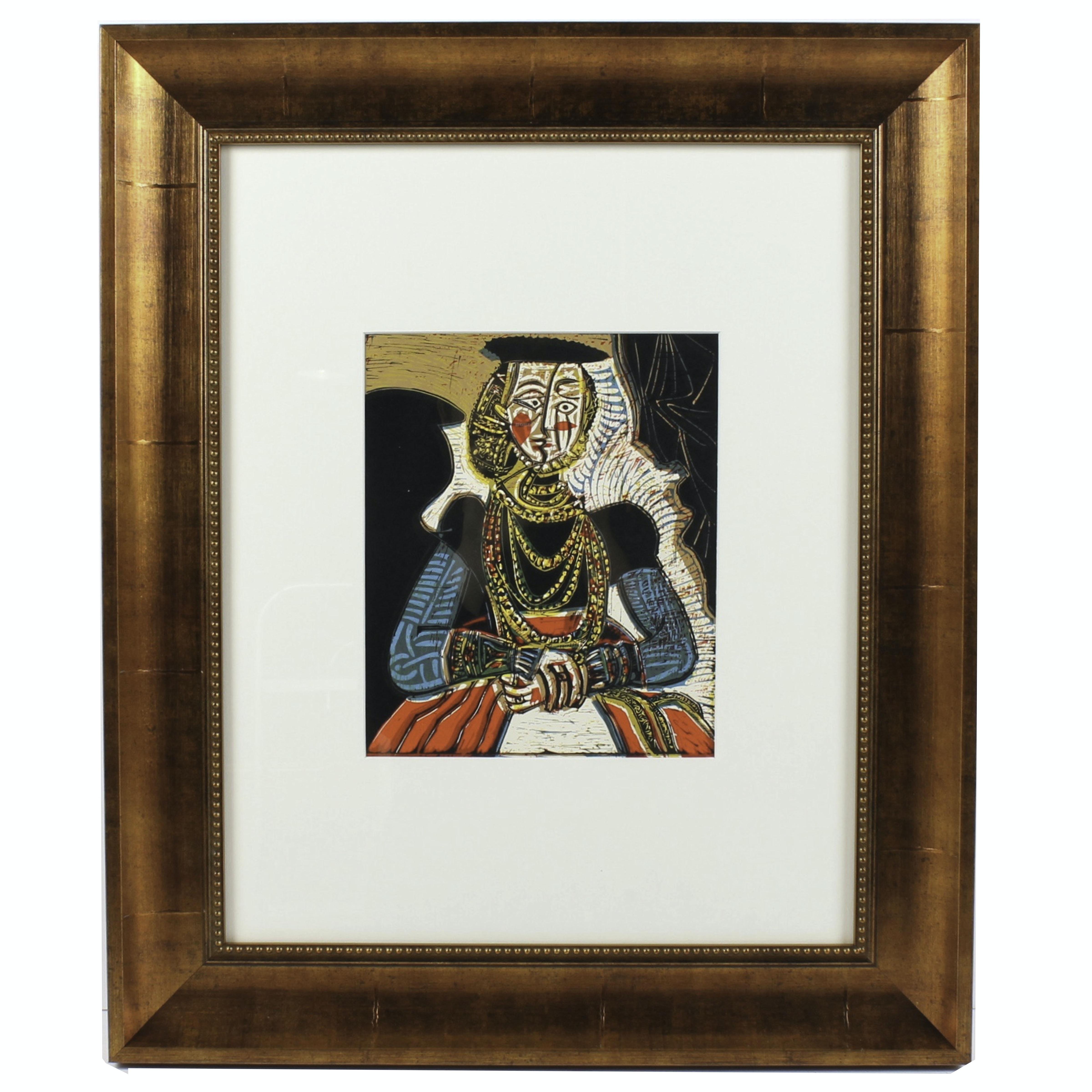 "Pablo Picasso 1962 Linocut ""Portrait of a Lady, After Lucas Cranach the Younger"""