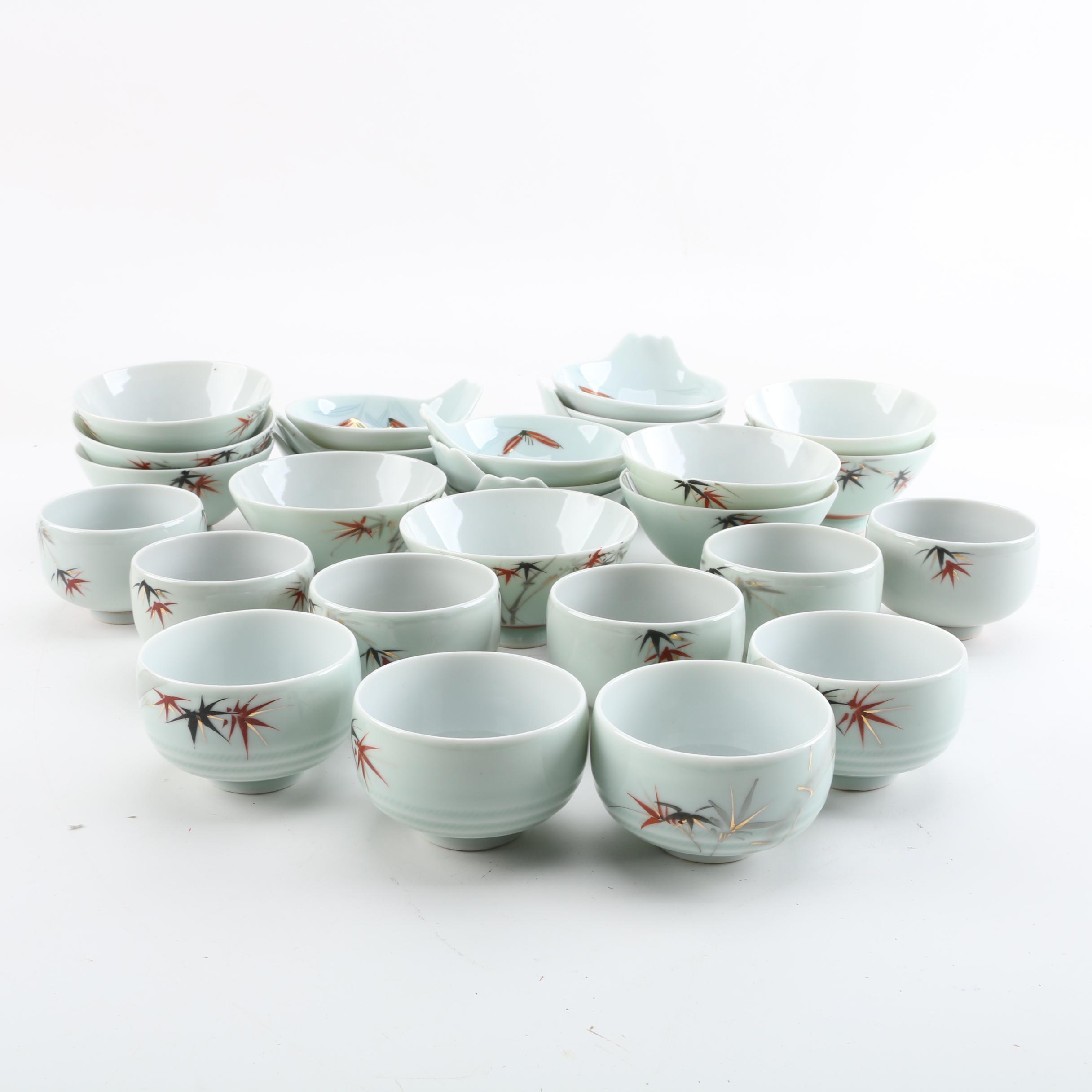 Asian Hand-Painted Bamboo Motif Porcelain Tableware