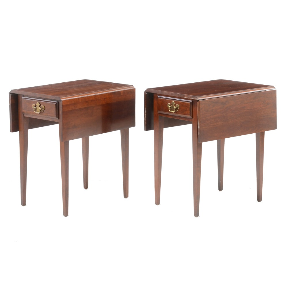 Two Drop-Leaf Cherry End Tables