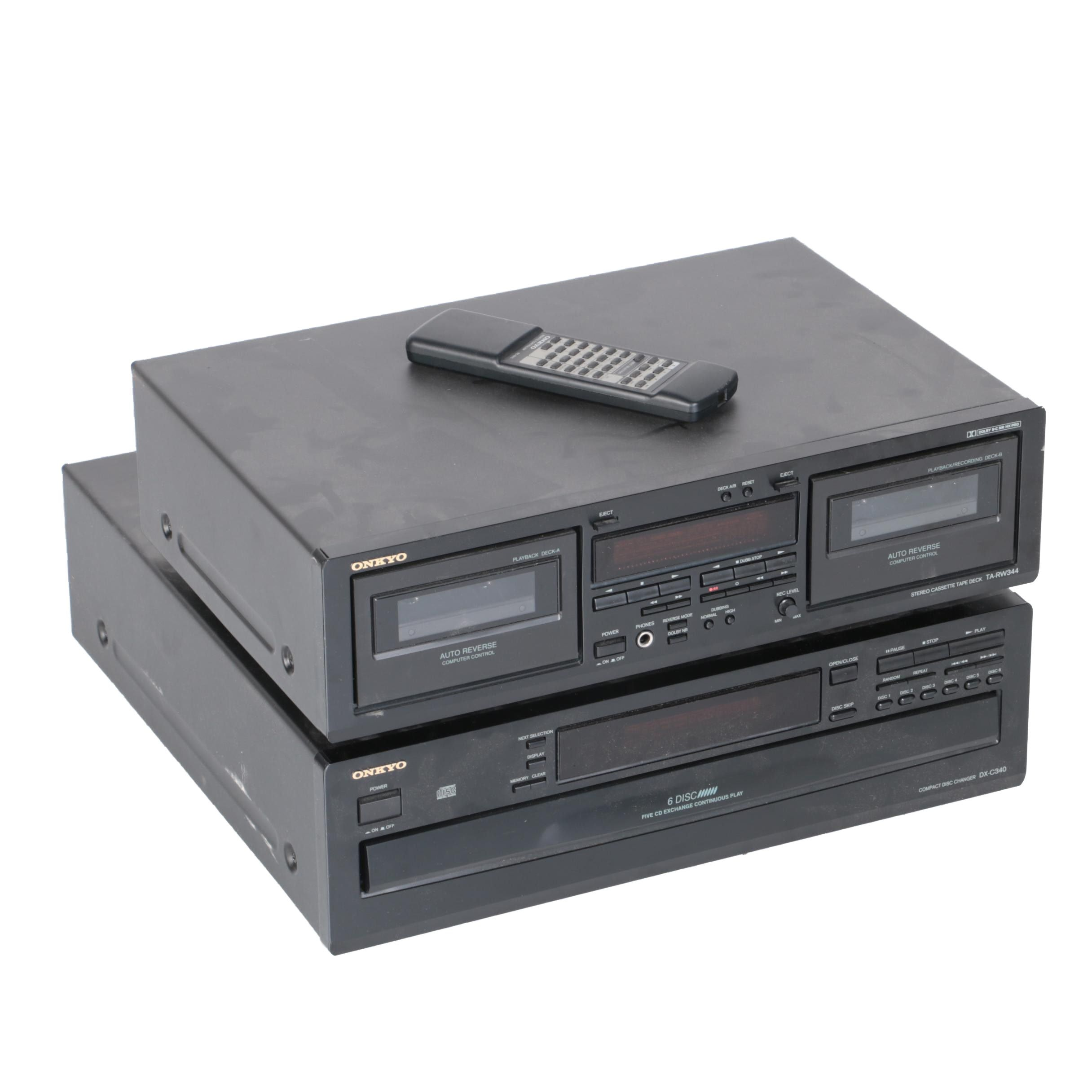 Onkyo Cassette Tape Deck and Six-Disc CD Changer