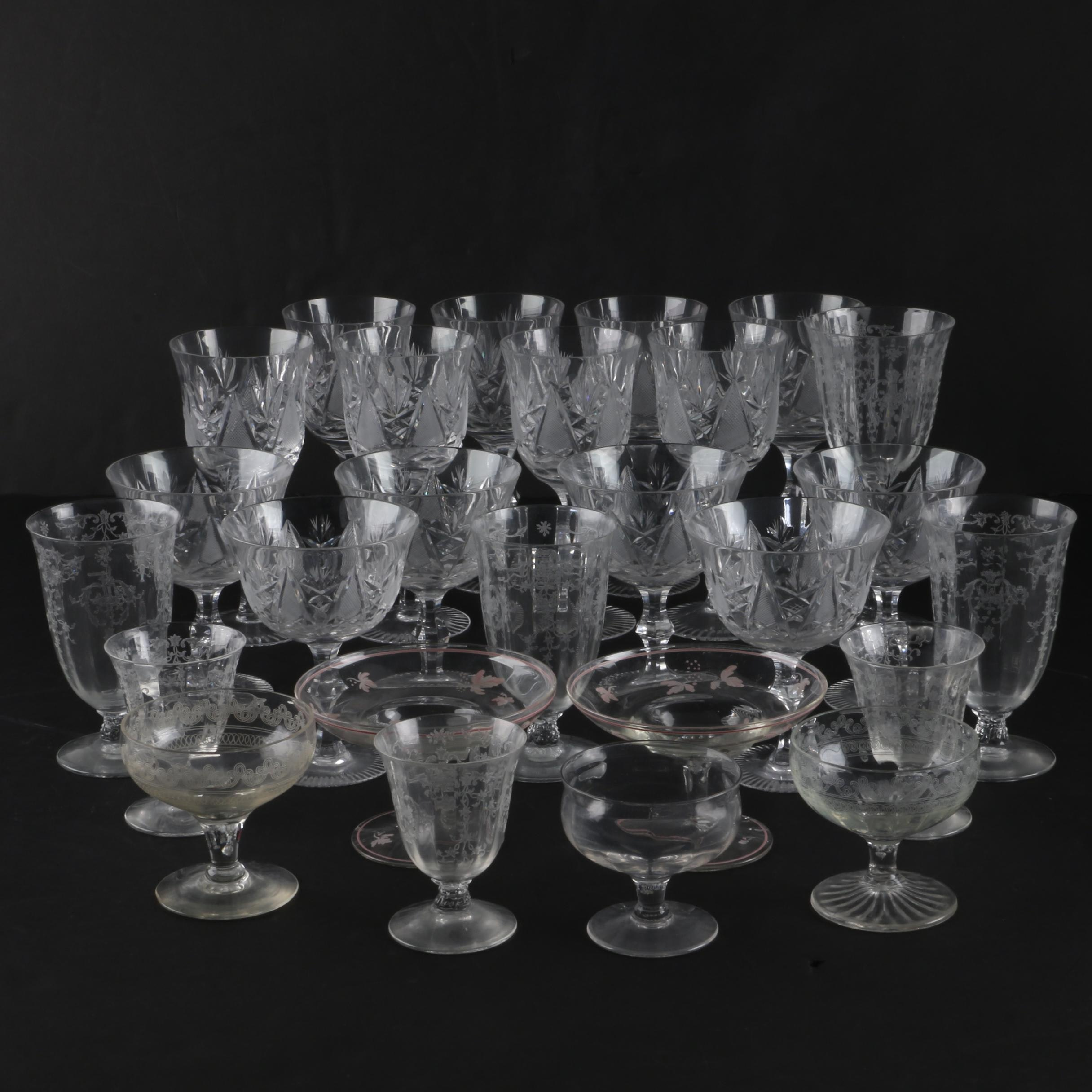 Crystal and Etched Glass Stemware