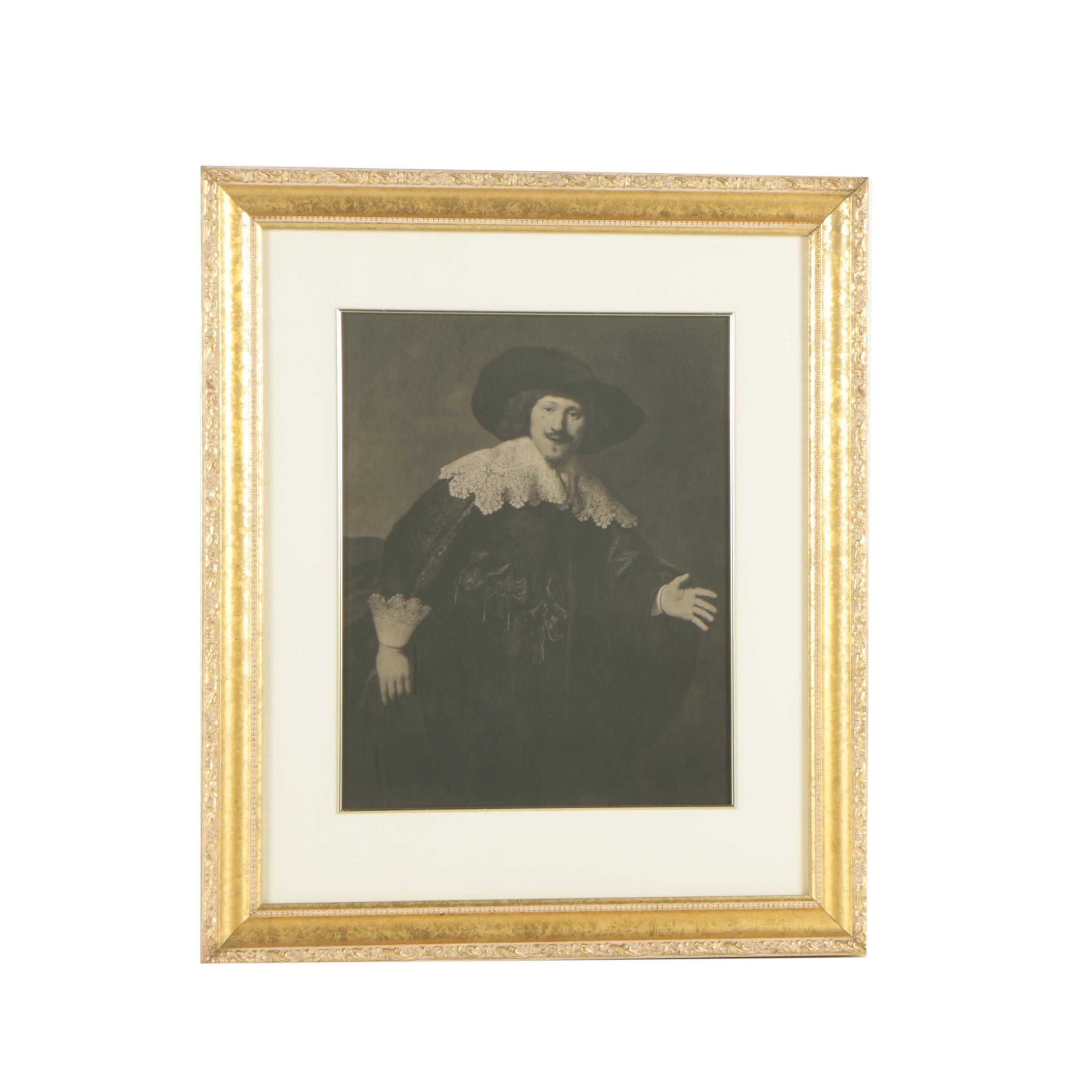 """Photogravure after Rembrandt van Rijn """"Portrait of a Man Rising from His Chair"""""""