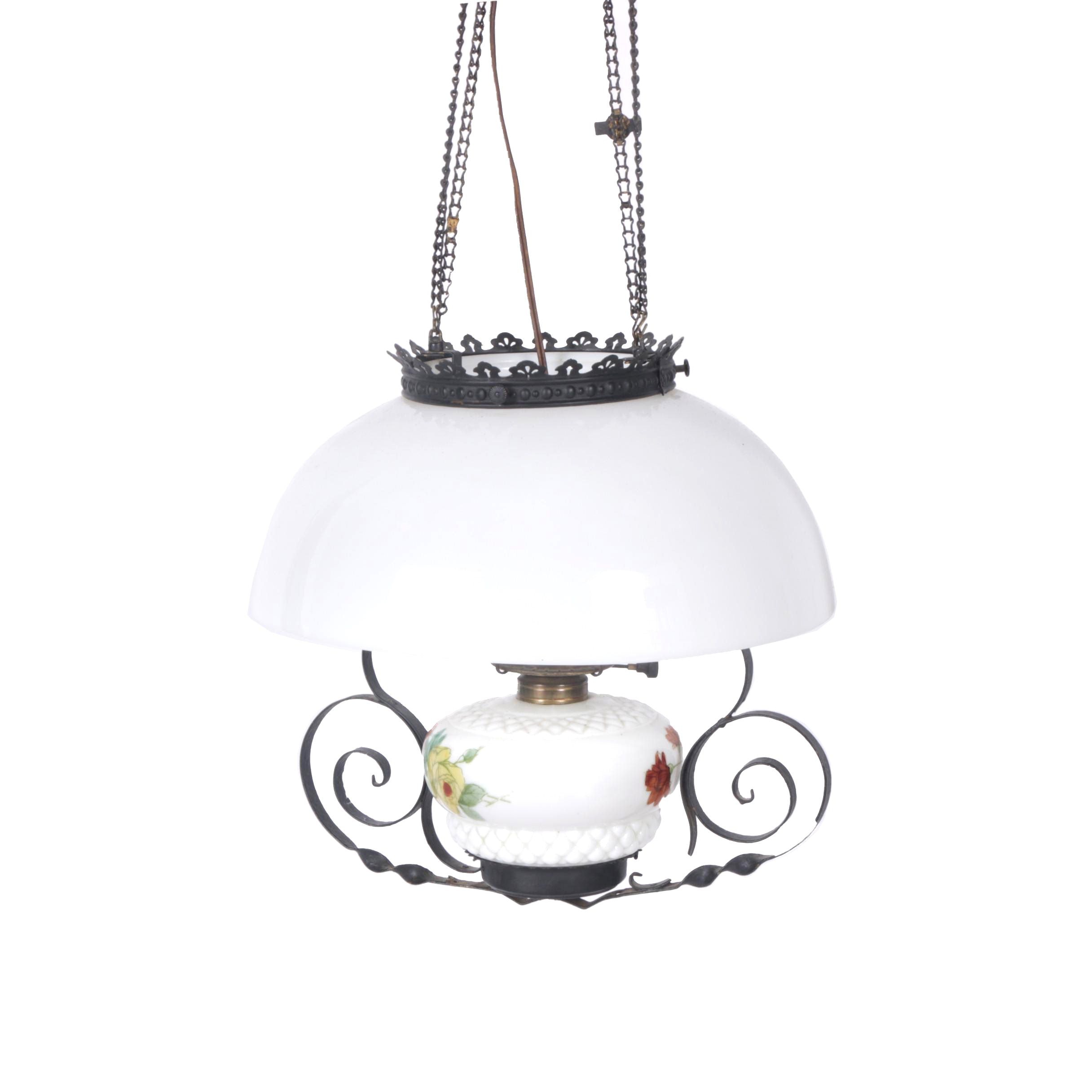 Vintage Hanging Glass Lamp With Scrolling Accents