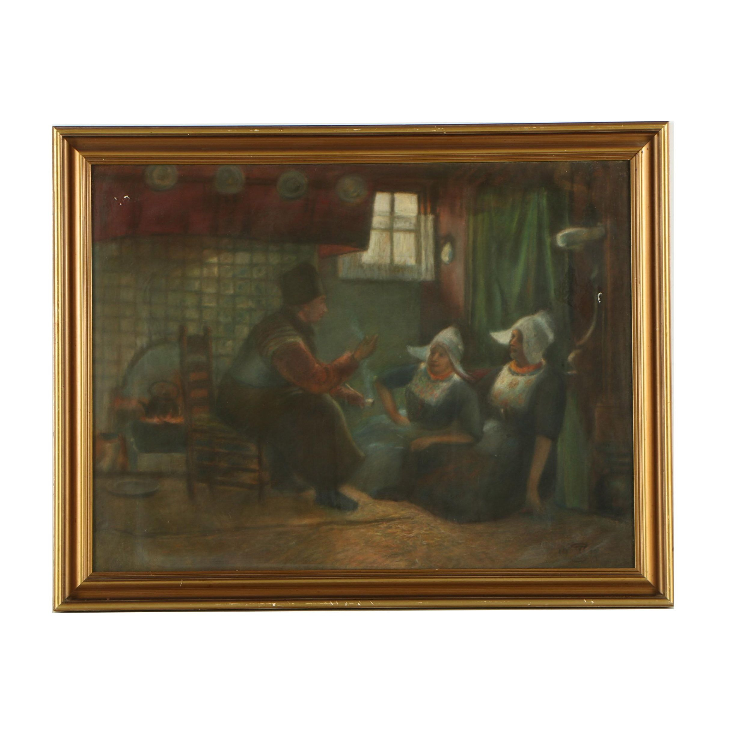 Early 20th Century Pastel Drawing of Interior Scene with Figures Conversing