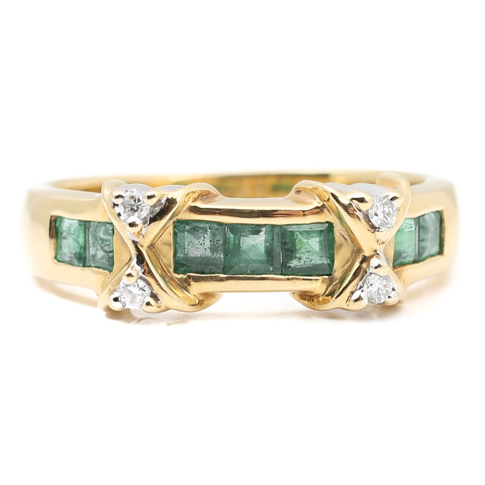 18K Yellow Gold Channel Set Emerald and Diamond Ring