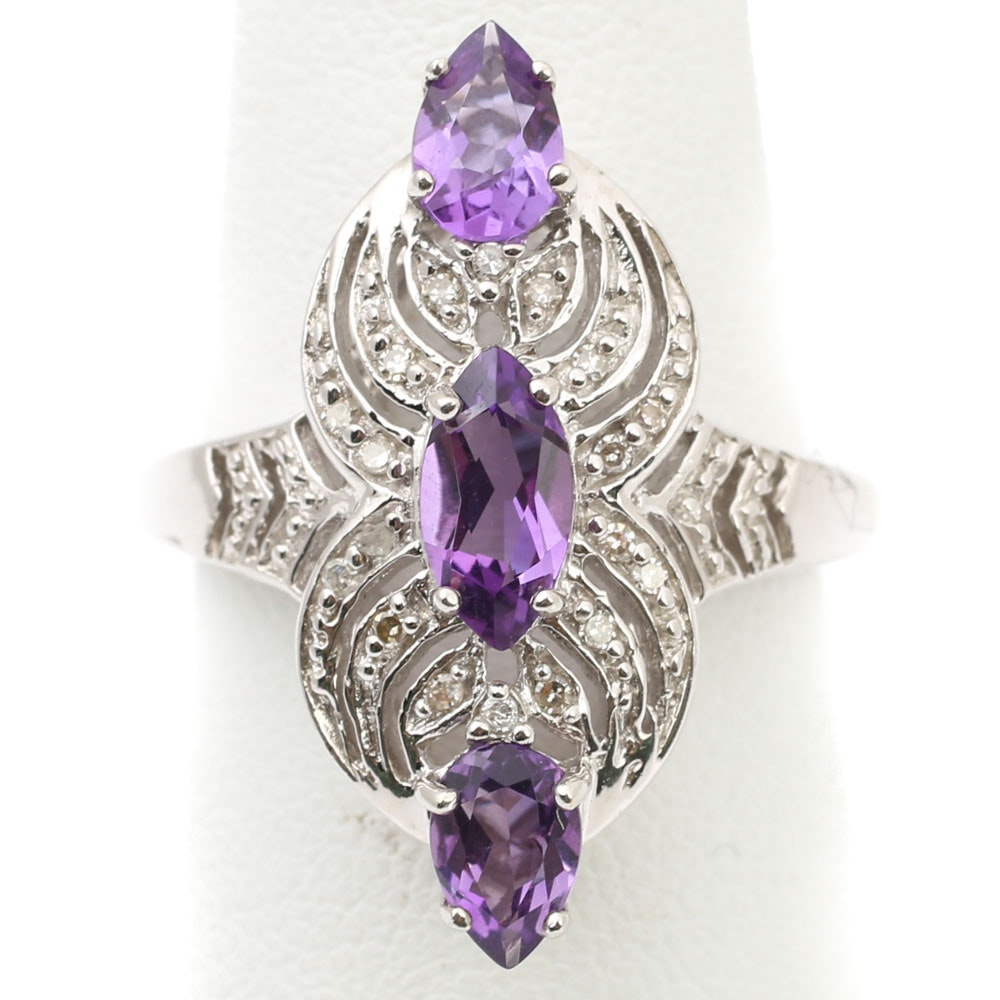 14K White Gold 1.22 CTW Amethyst and Diamond Ring
