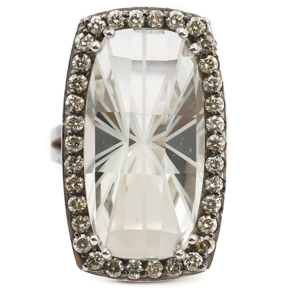 Sterling Silver 22.85 CT Green Quartz and 1.25 CTW Diamond Accented Ring