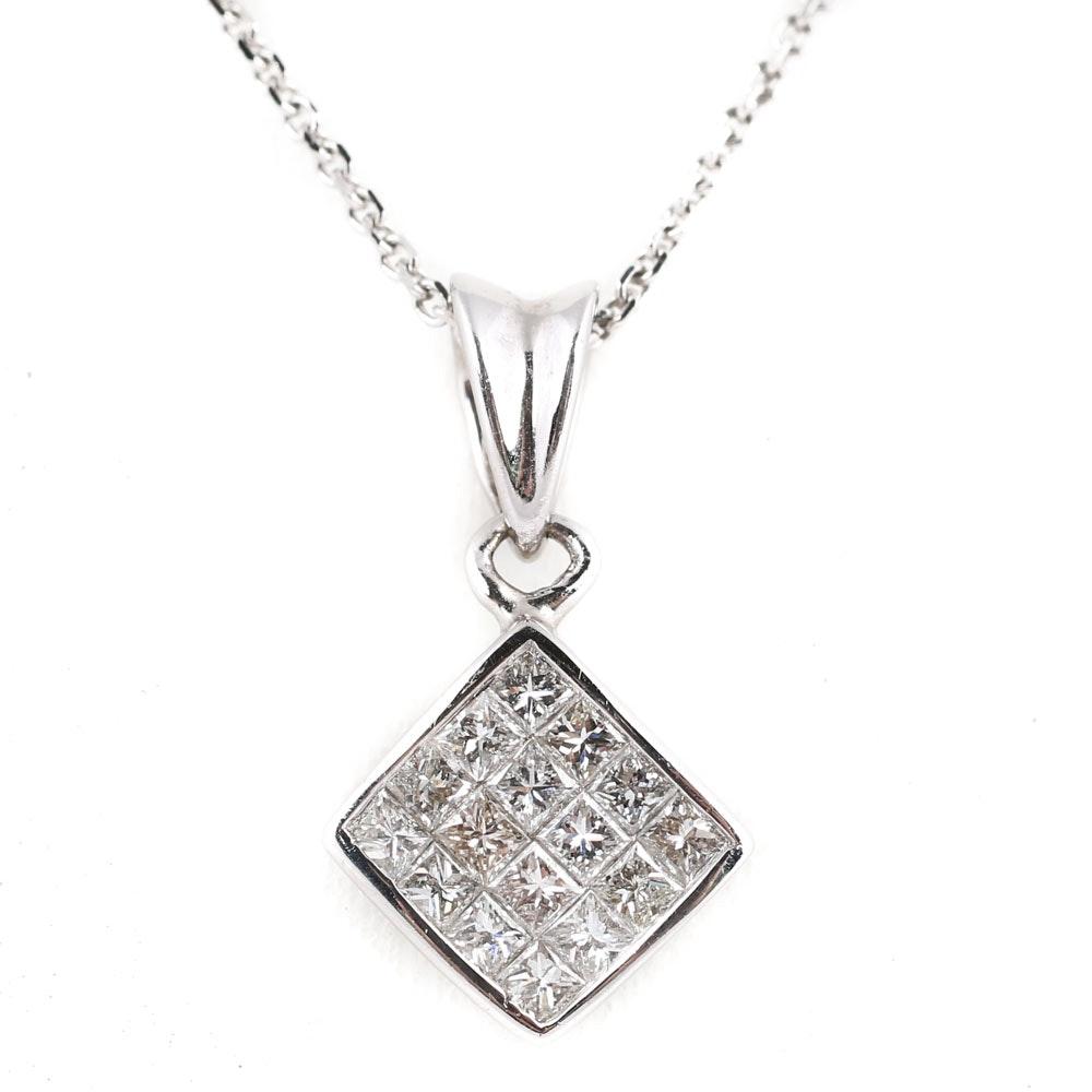 14K White Gold Princess Cut Diamond Pendant Necklace