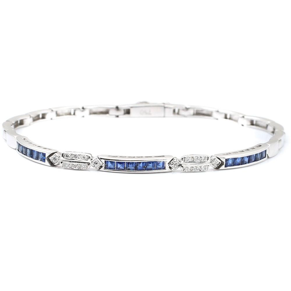 18K White Gold 1.08 CTW Sapphire and Diamond Bracelet