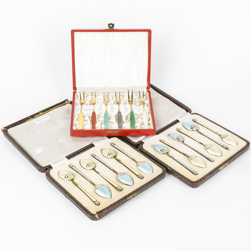 Danish and English Enameled Sterling Flatware with Presentation Cases