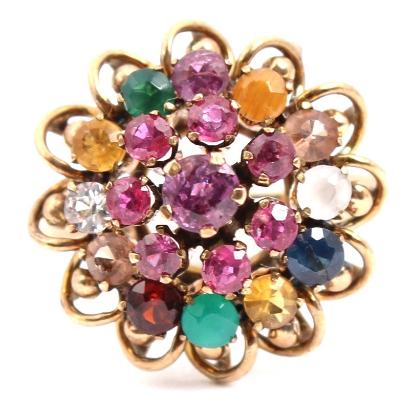 Vintage 14K Yellow Gold Gemstone Cluster Ring
