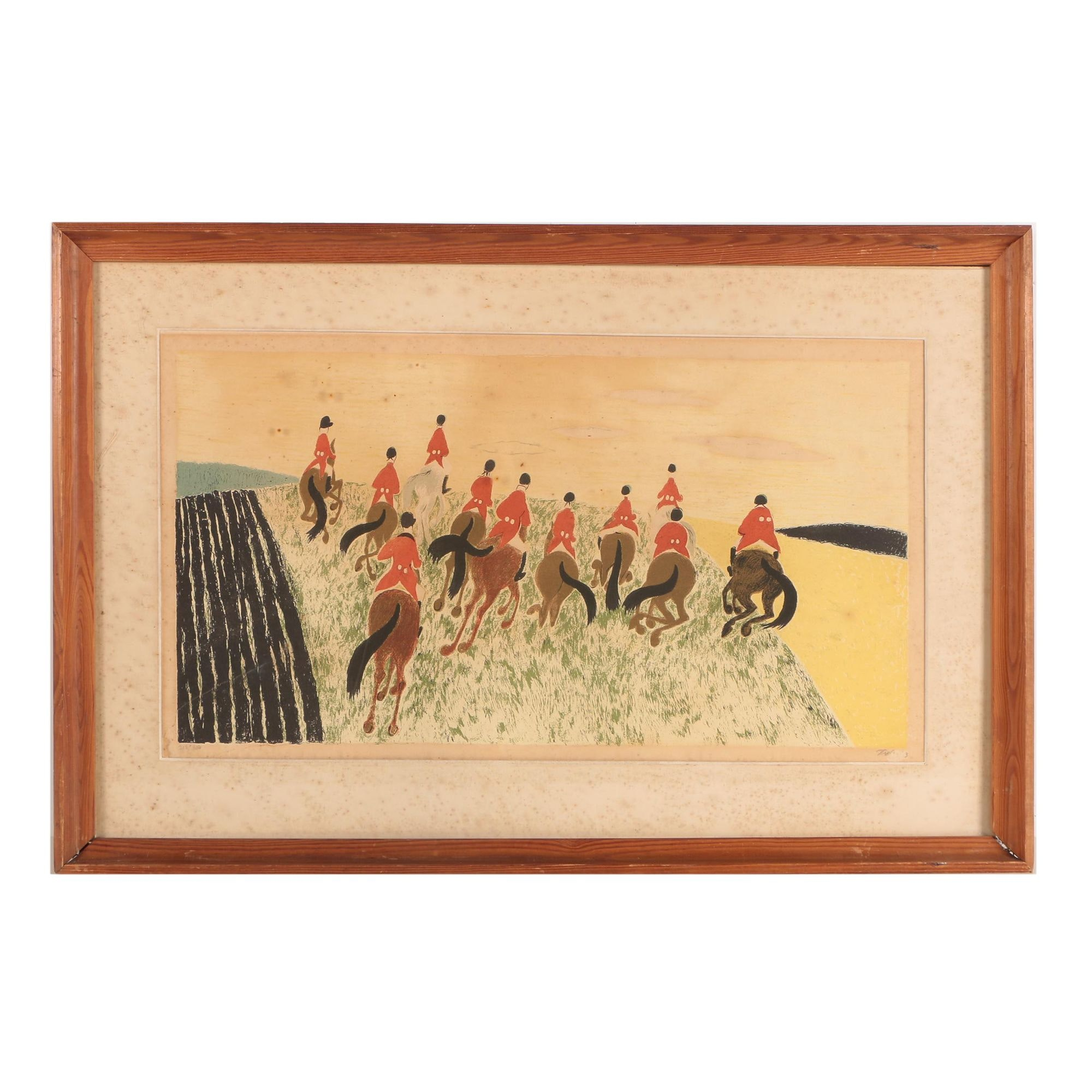 Mogens Zieler Limited Edition Lithograph of Hunting Scene