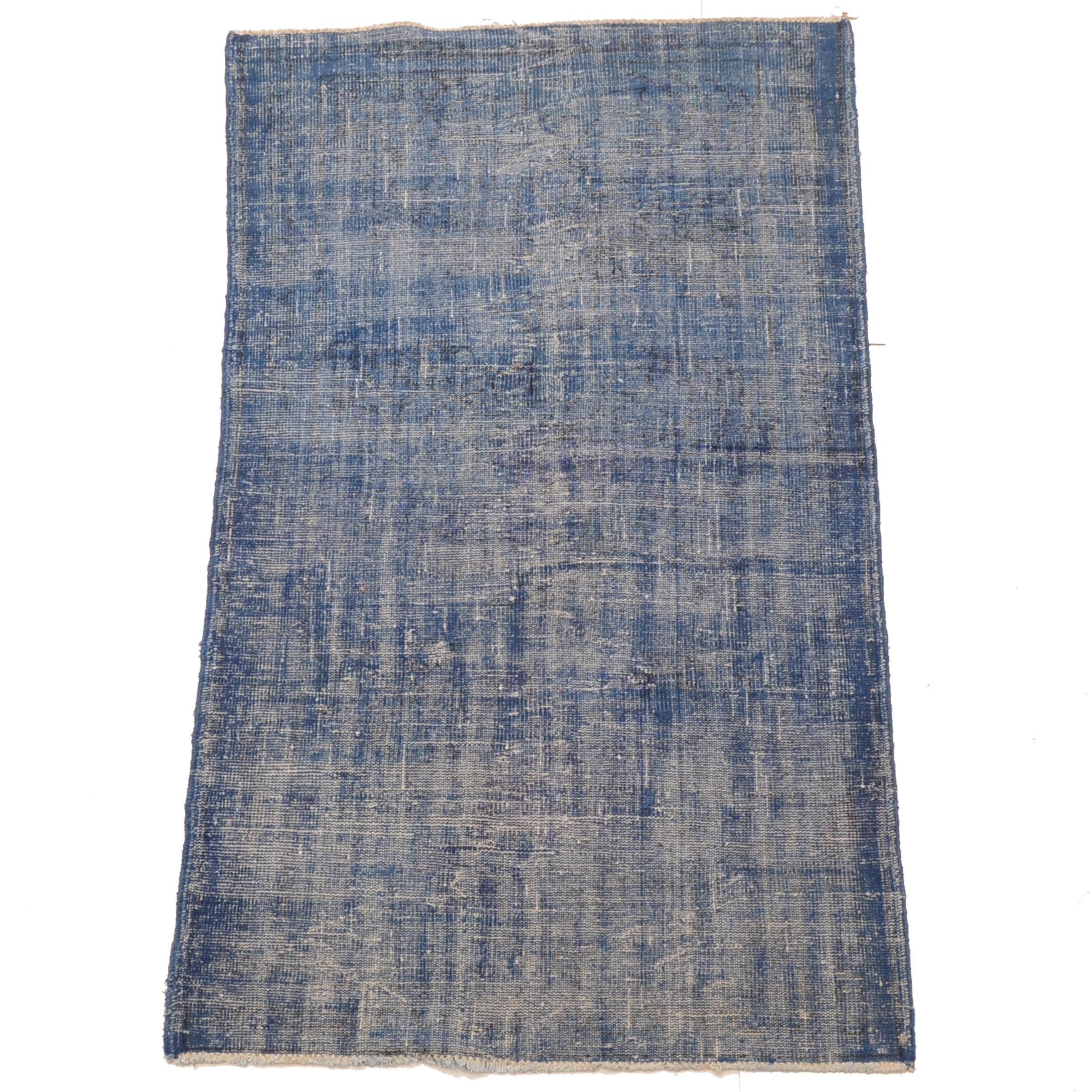 Hand-Knotted Blue Ocean Traders Overdyed Wool Turkish Area Rug