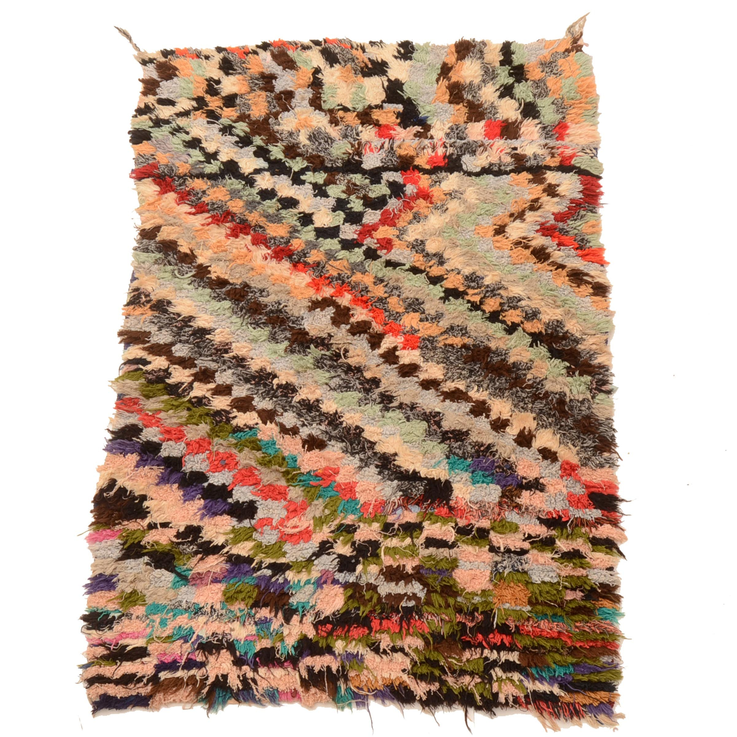 Hand-Knotted Moroccan Berber Boucherouite Area Rug