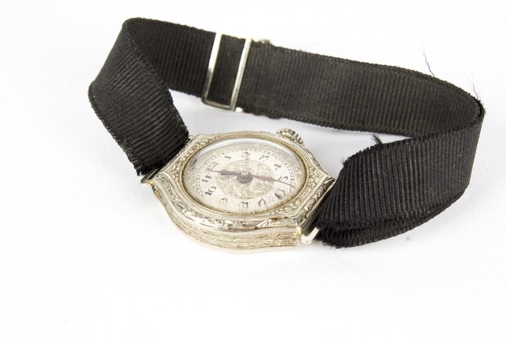 14K White Gold Wristwatch With Ribbon Bracelet