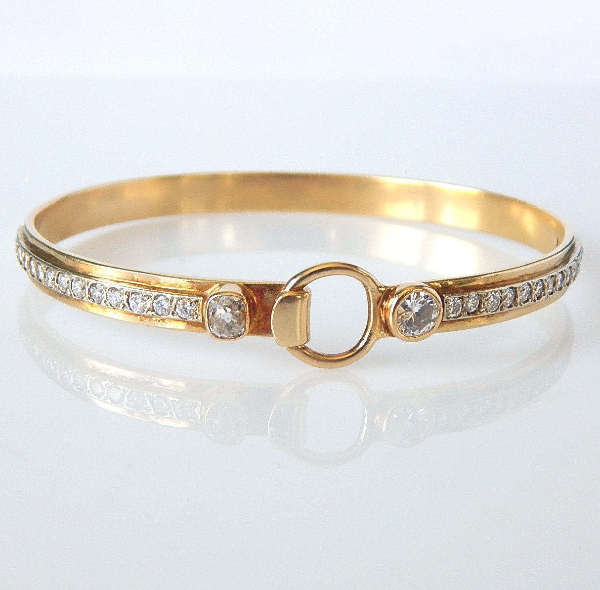 14K Yellow Gold 2.30 CTW Diamond Stirrup Bangle Bracelet