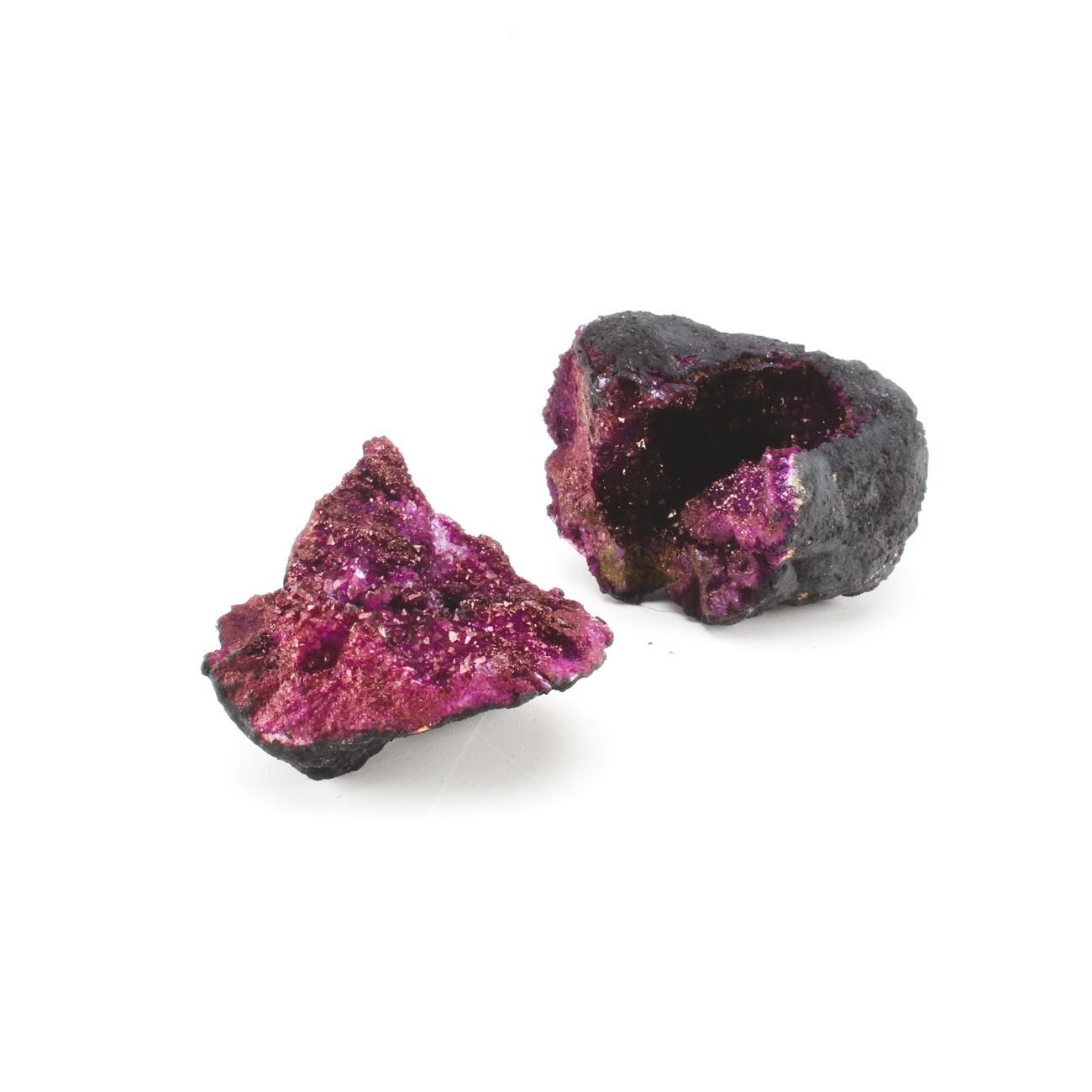 Pair of Purple Dyed Quartz Crystal Moroccan Geodes