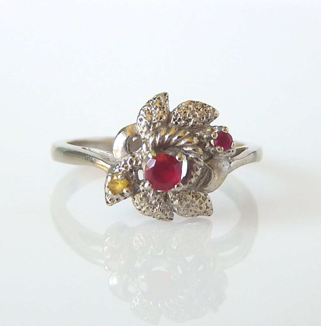 10K White Gold Ruby and Yellow Sapphire Floral Ring