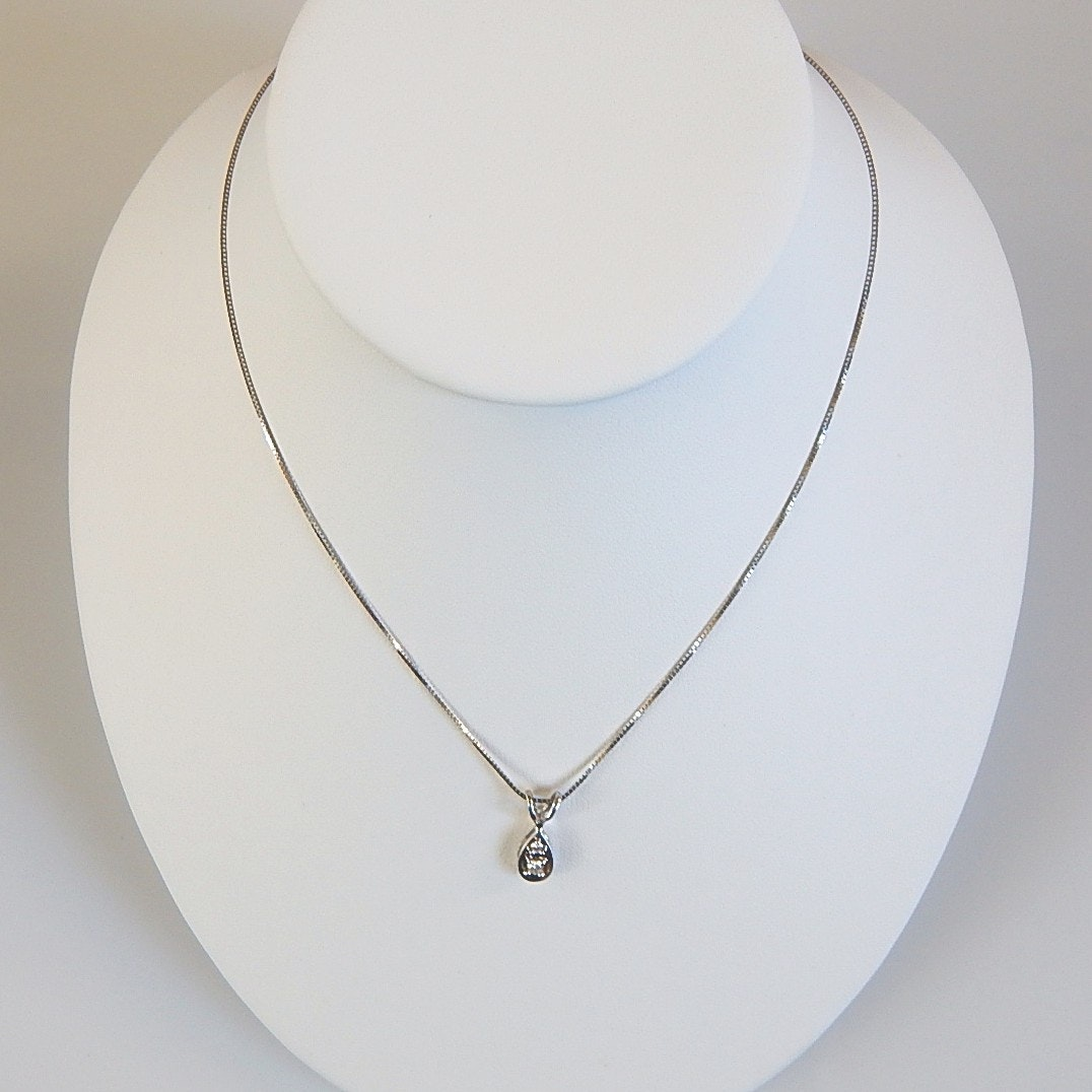 14K White Gold Diamond Pendant and Chain Necklace