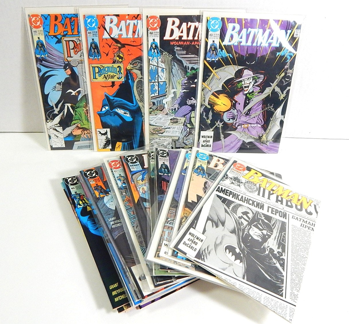 """Collection of 1990s DC Comics with """"Batman"""" and """"Knightfall Batman"""""""