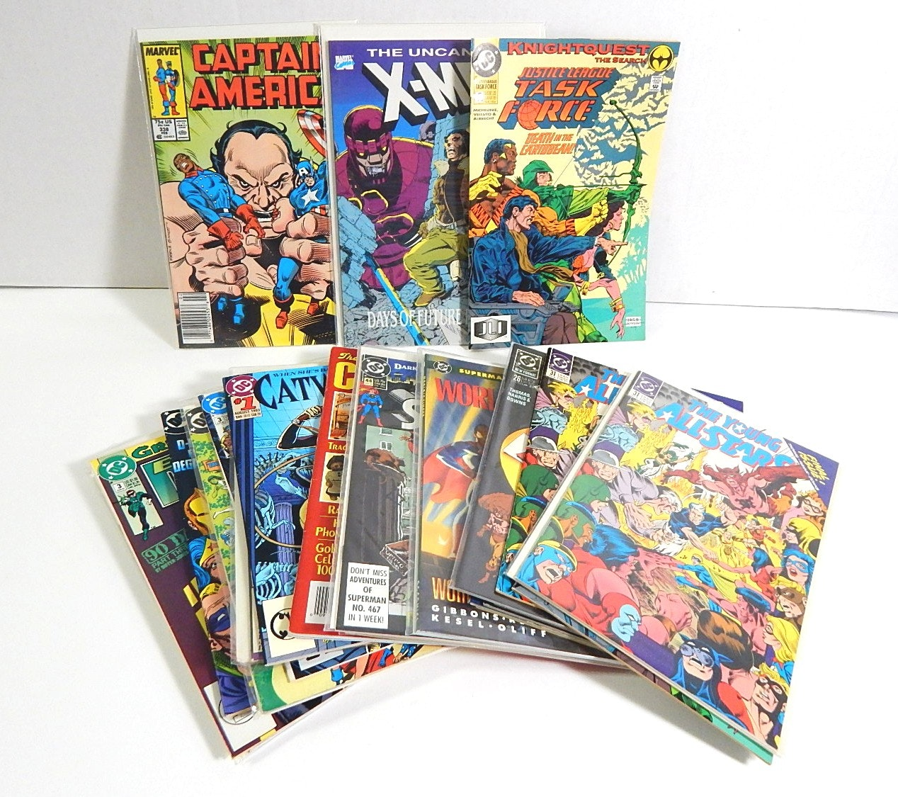 Collection of 1990s Marvel and DC Comic Books with Catwoman,Justice Society