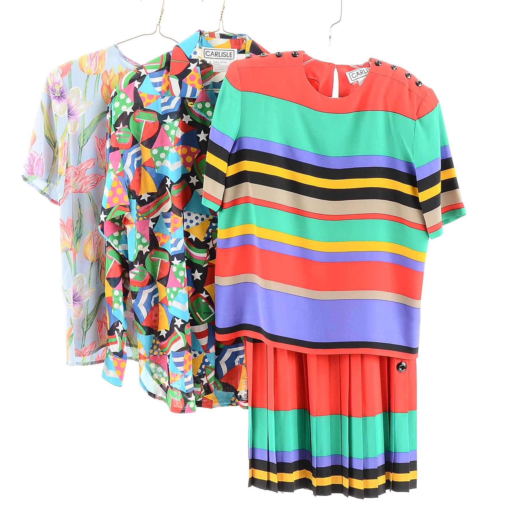 Vintage Colorful Silk Blouses by Carlisle