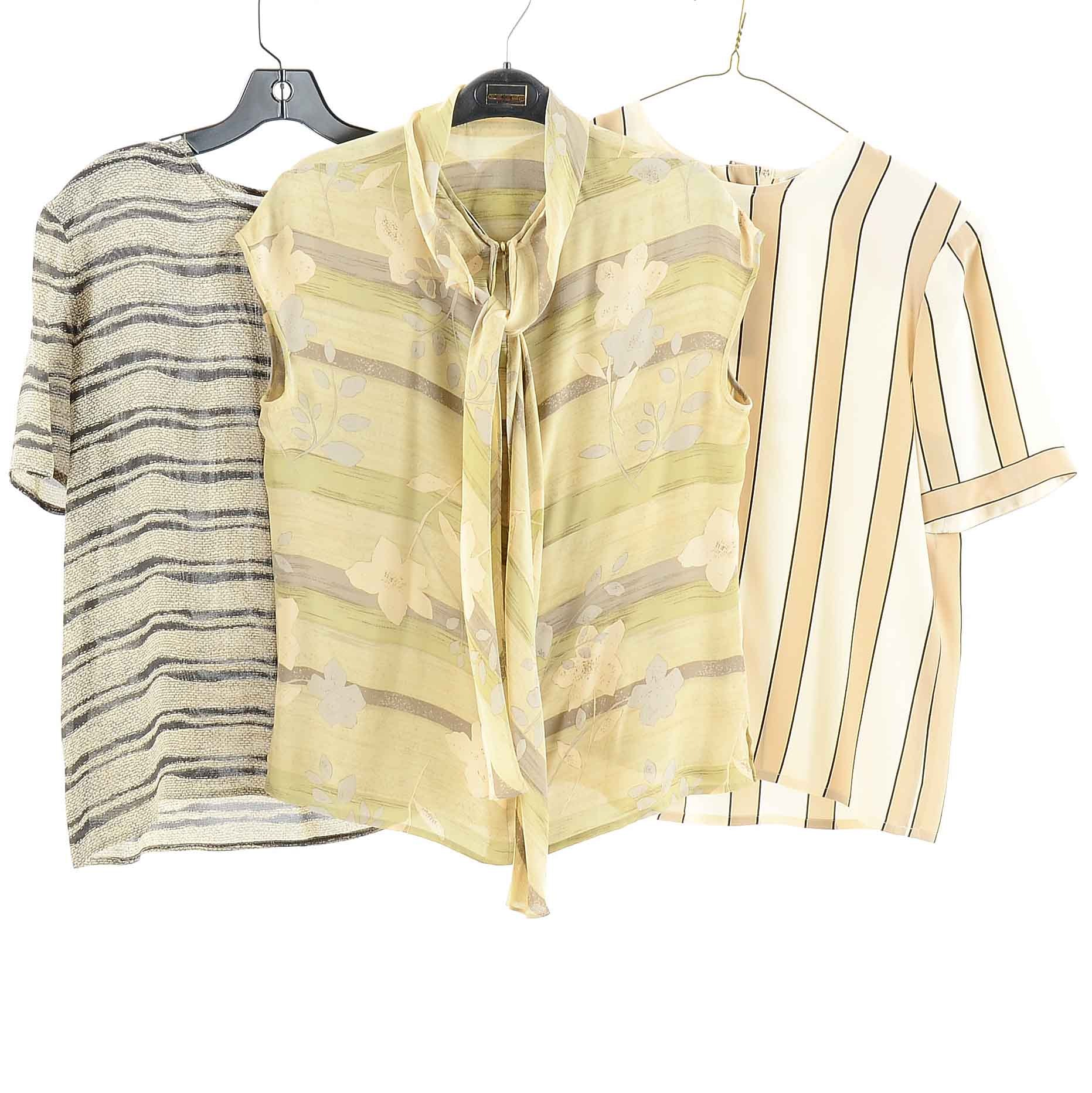 Vintage Neutral Silk Blouses by Carlisle