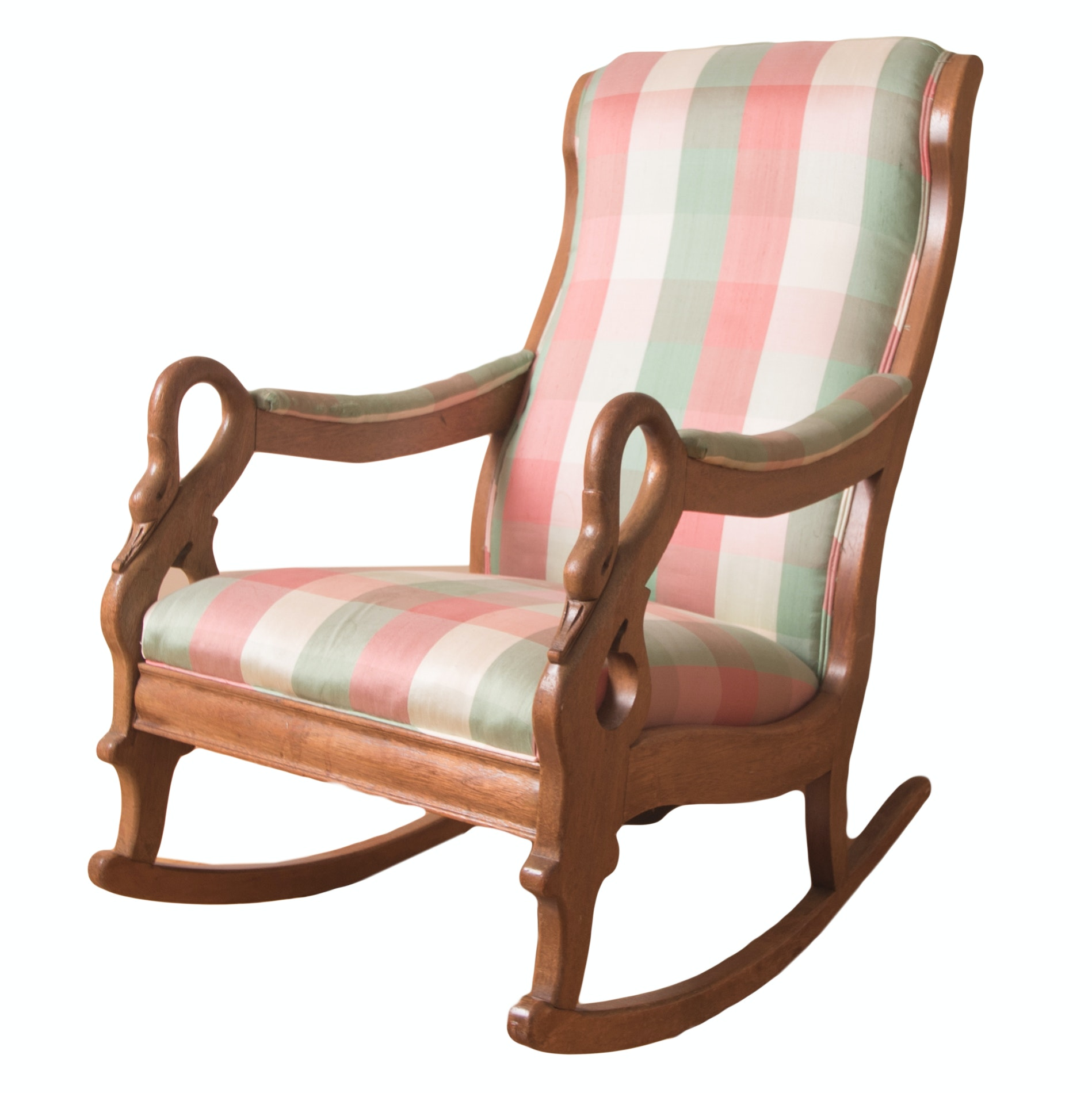 Vintage Oak Swan Arm Rocking Chair