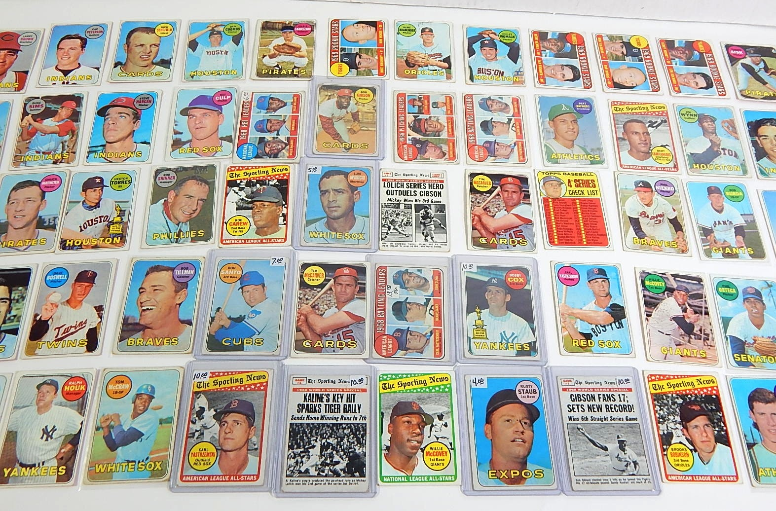1969 Topps Baseball Card Lot with Yastrzemski, McCovey, Gibson, and More