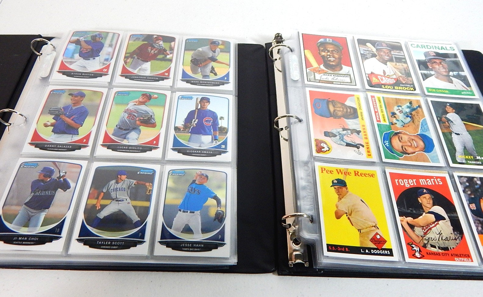Baseball Cards in Two Albums with 2013 Bowman and 2011 Topps