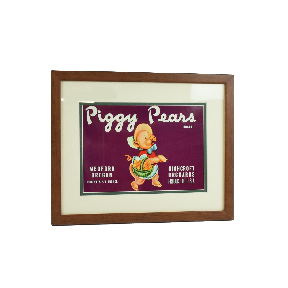 "Original 1940s ""Piggy Pear"" Fruit Label"