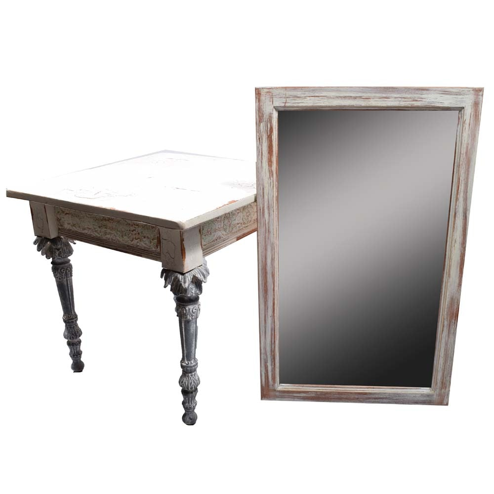 Shabby Chic Side Table and Wall Mirror
