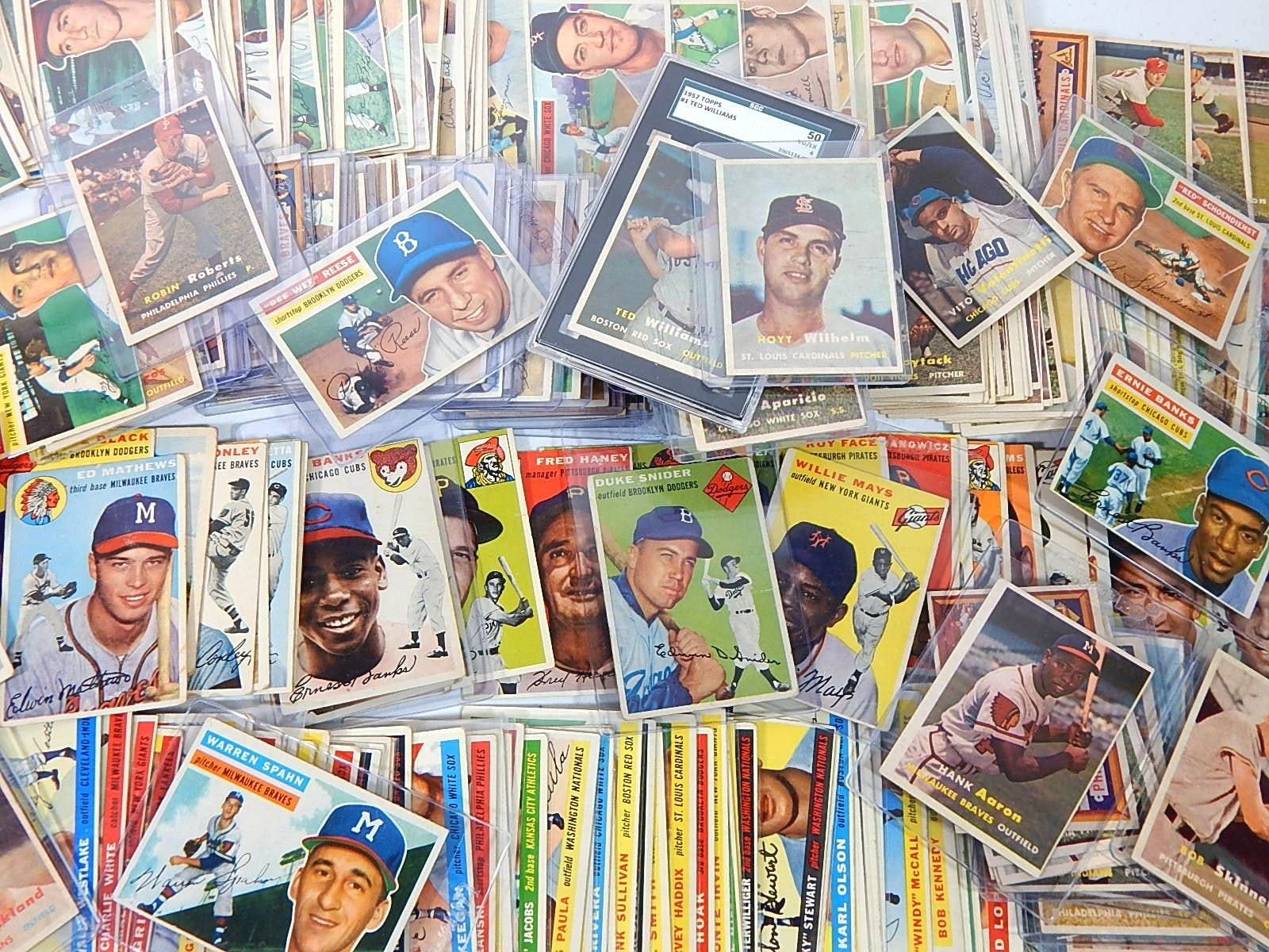 Large Topps Vintage Baseball Card Lot from 1954 to 1957 - Over 270 Cards