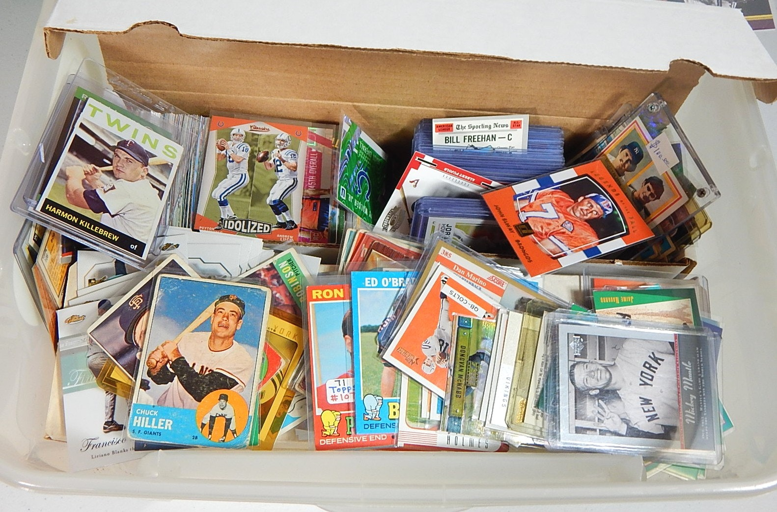 Tub Filled with Around 3000 Sports Cards with Mantle, Killebrew, Manning, Etc.