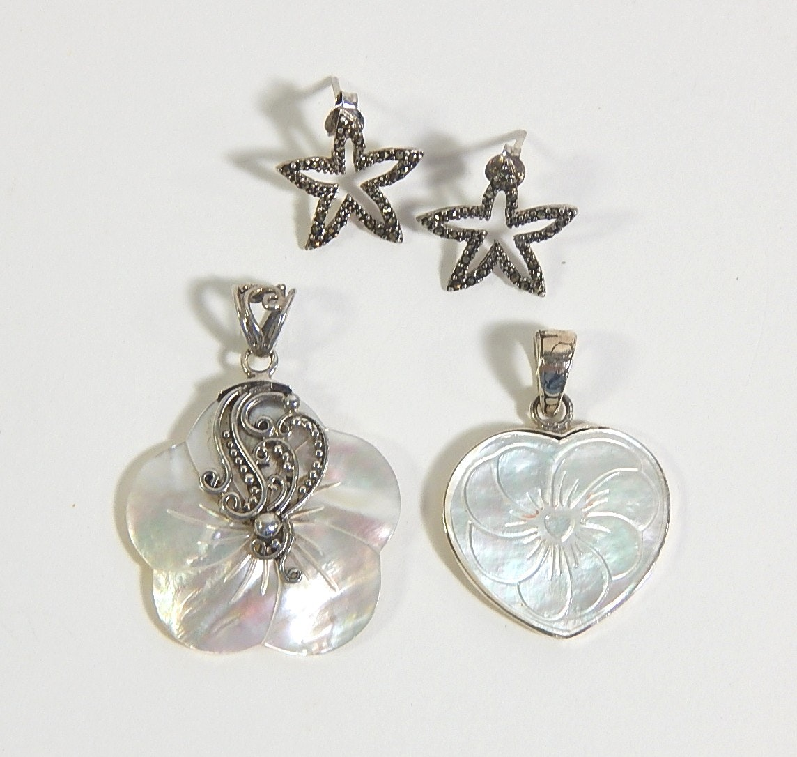 Sterling Silver Starfish Earrings and Mother of Pearl Pendants
