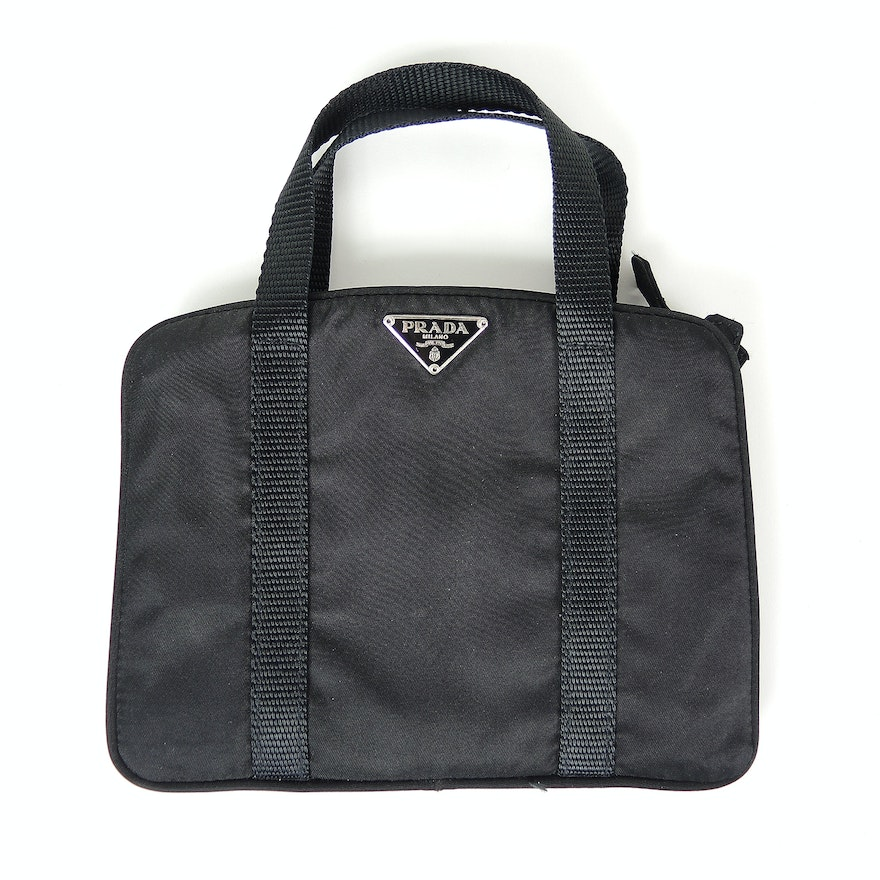 3b26ac1d8a8230 Prada Black Nylon Top Handle Bag : EBTH