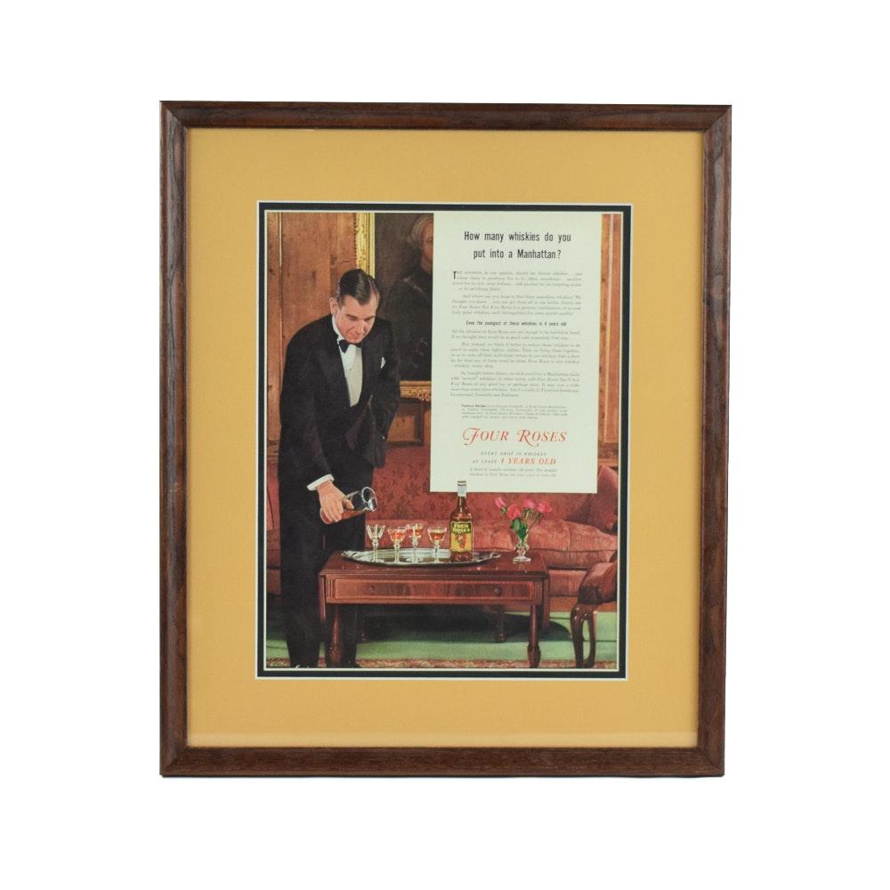 "1935 Original ""Four Roses Bourbon"" Magazine Advertisement"