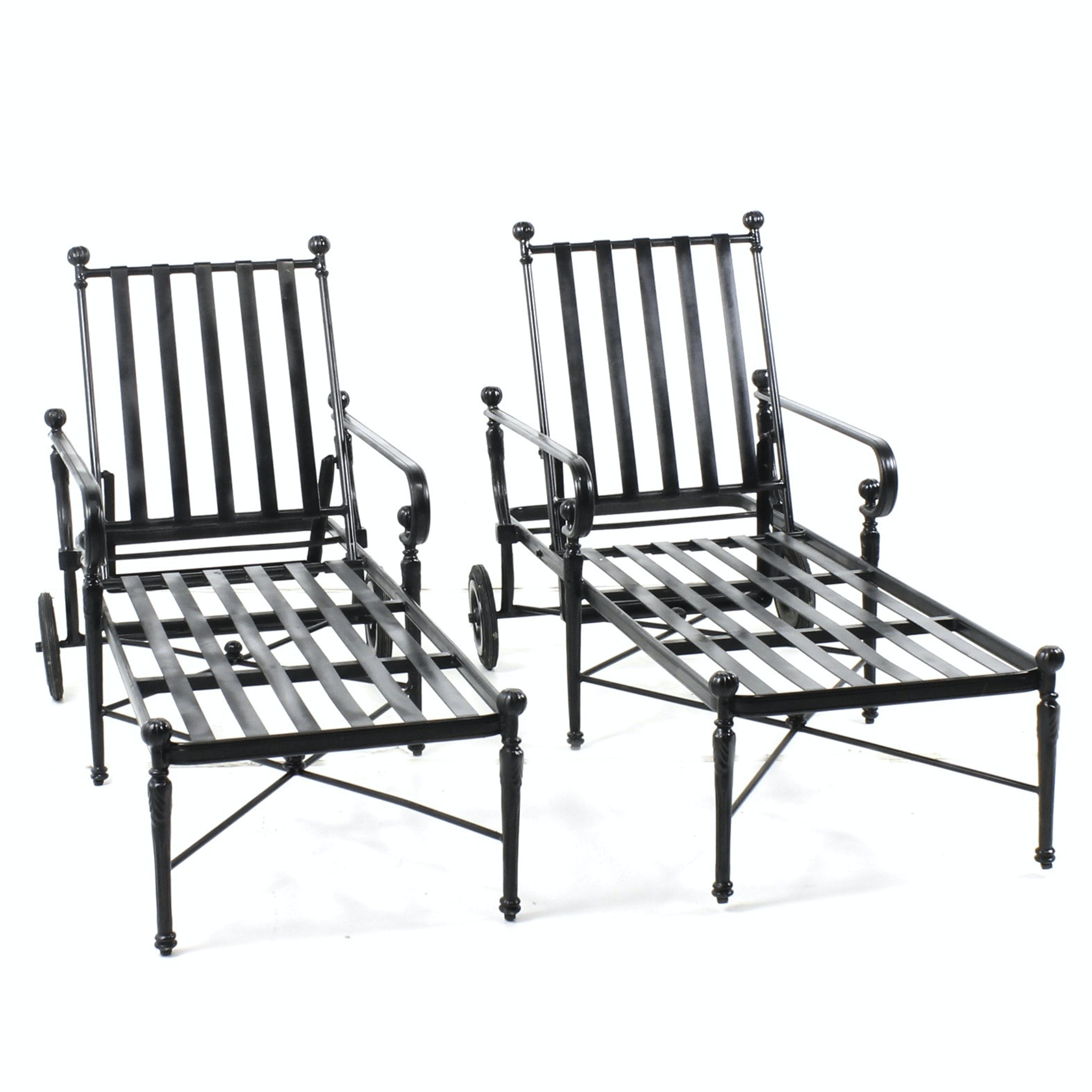 Frontgate Cast Metal Patio Chaise Lounge Chairs