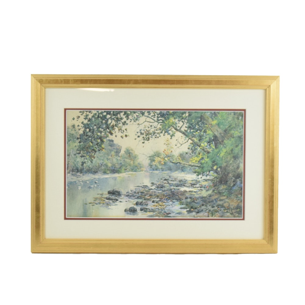 "Paul Sawyier Limited Edition Offset Lithograph ""Fall Reflections"""