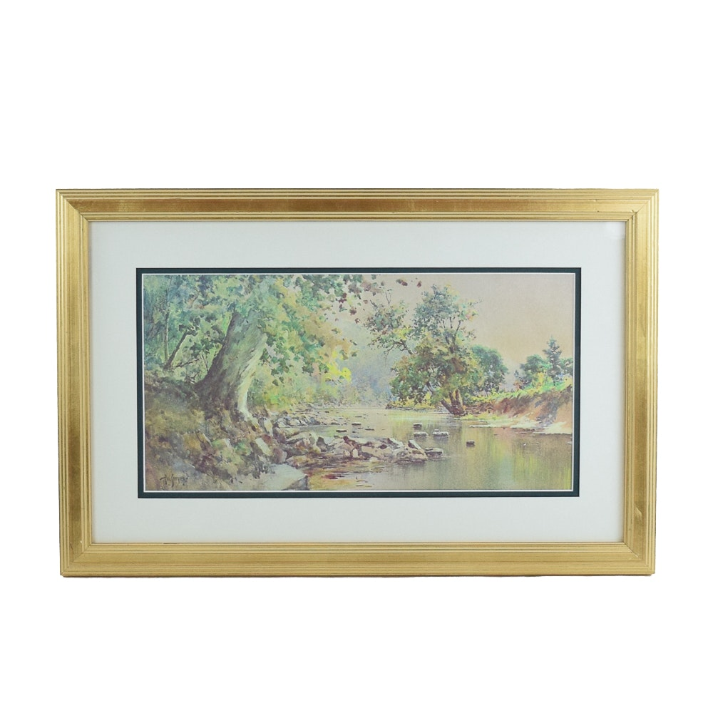 """Paul Sawyier Limited Edition Offset Lithograph """"Knight's Bridge"""""""