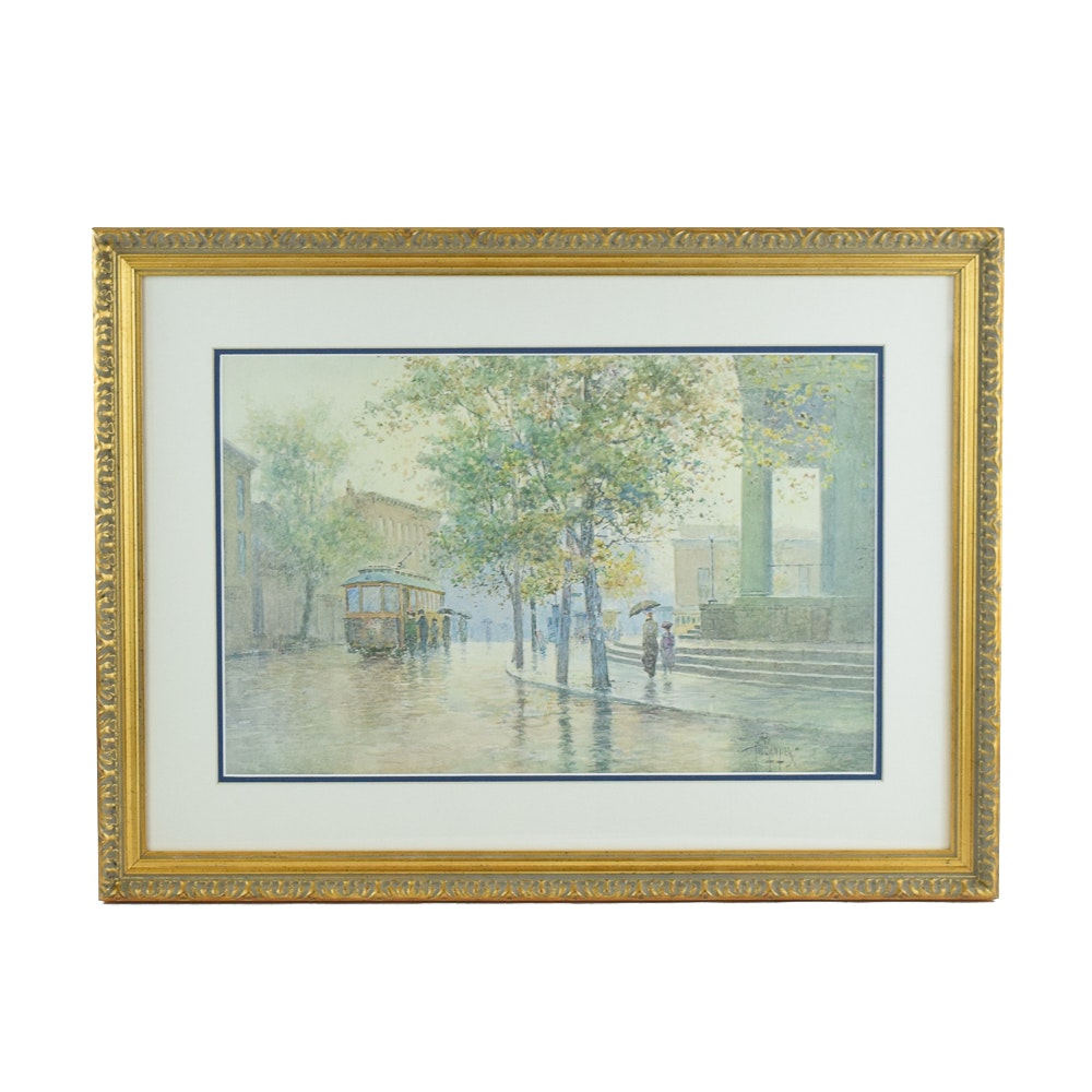"""Paul Sawyier Limited Edition Offset Lithograph """"Main Street Trolley"""""""