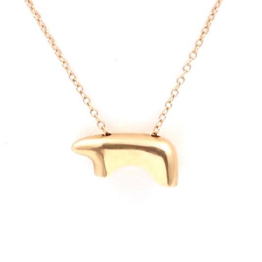 14K Yellow Gold Bear Pendant Necklace