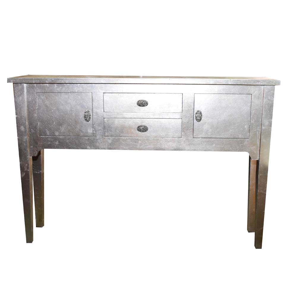 Contemporary Silver Leafed Sofa Table