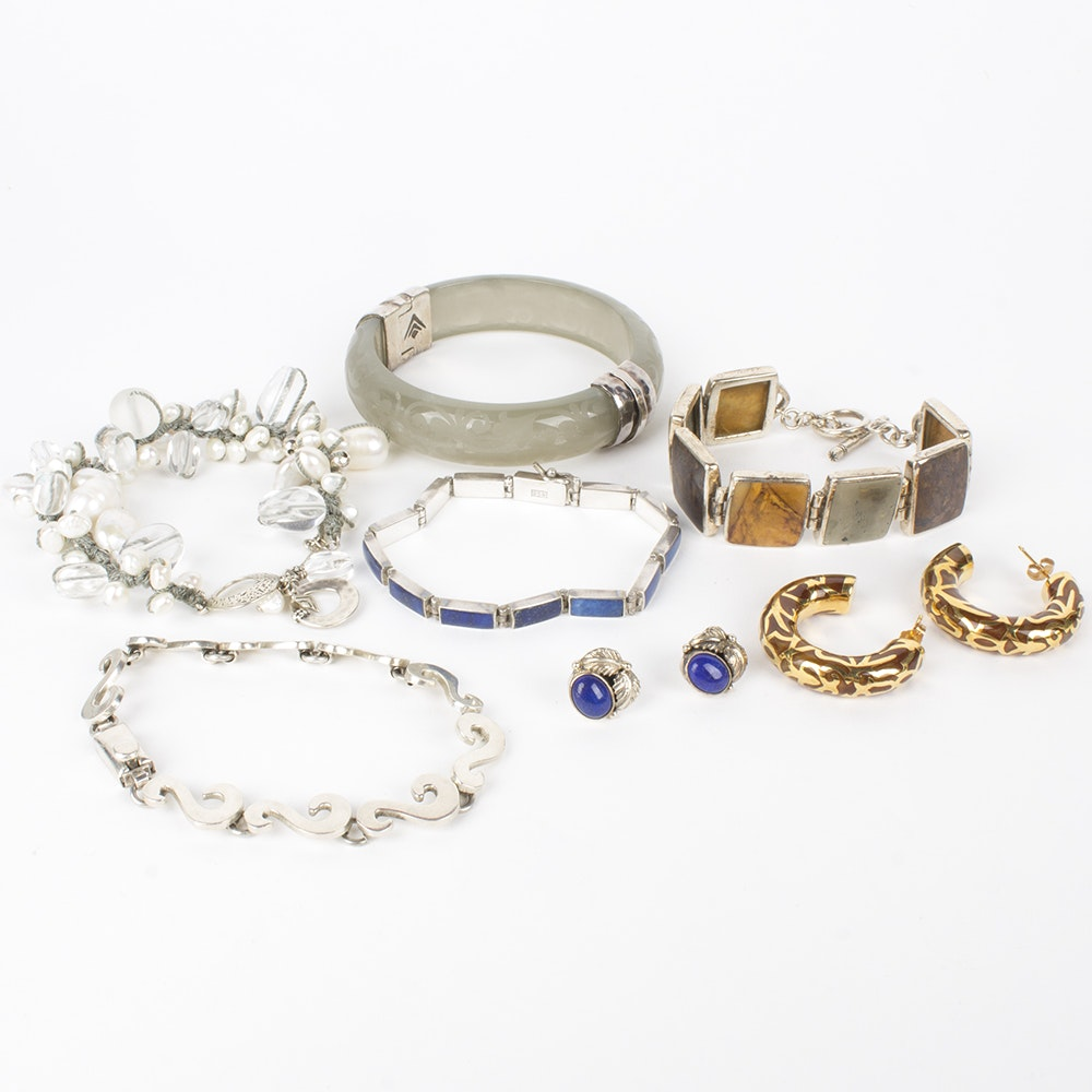 Sterling Silver Jewelry Collection Featuring Sodalite, Agate, and Pearls