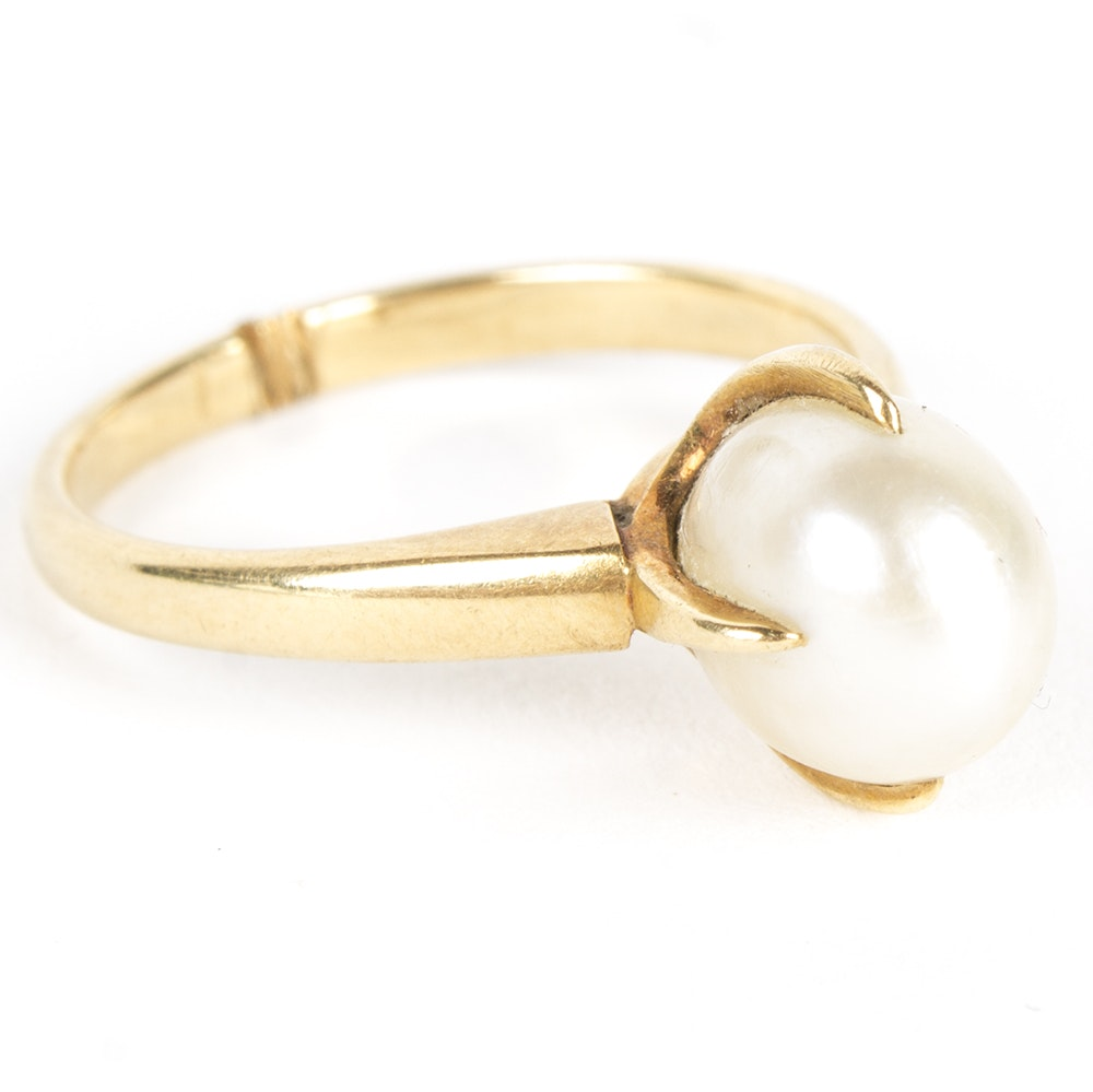 18K Yellow Gold Pearl Ring